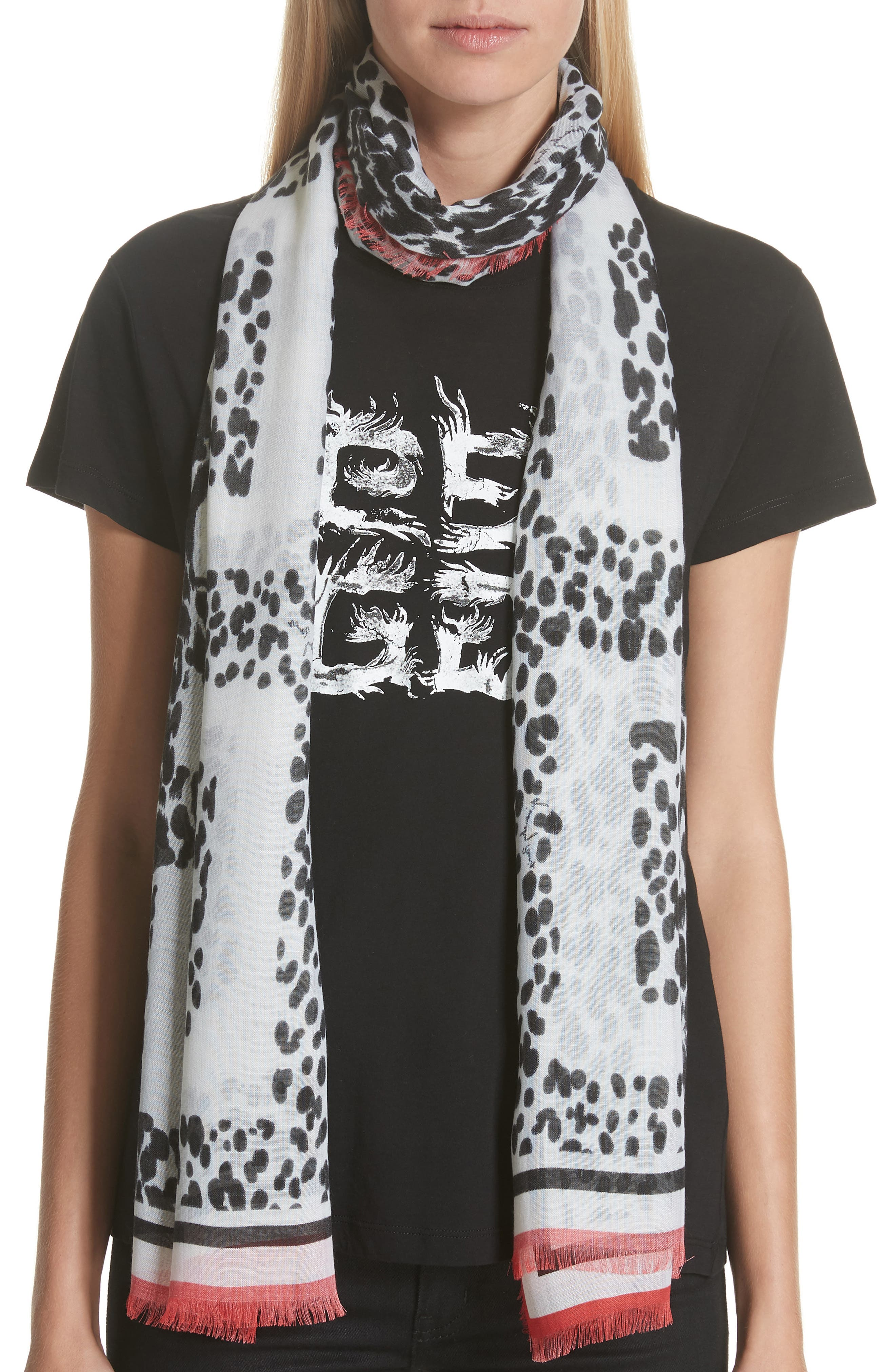 4G Leopard Cashmere & Silk Scarf,                             Alternate thumbnail 2, color,                             BLACK/ WHITE