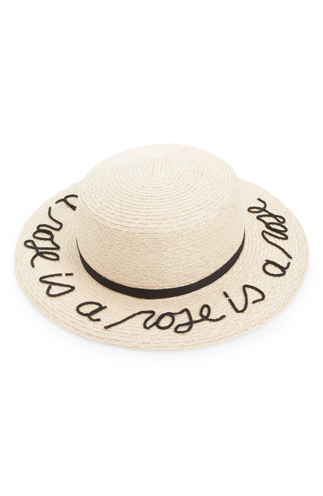 'Brigitte - A Rose is a Rose is a Rose' Hemp & Cotton Boater Hat,                         Main,                         color, 250