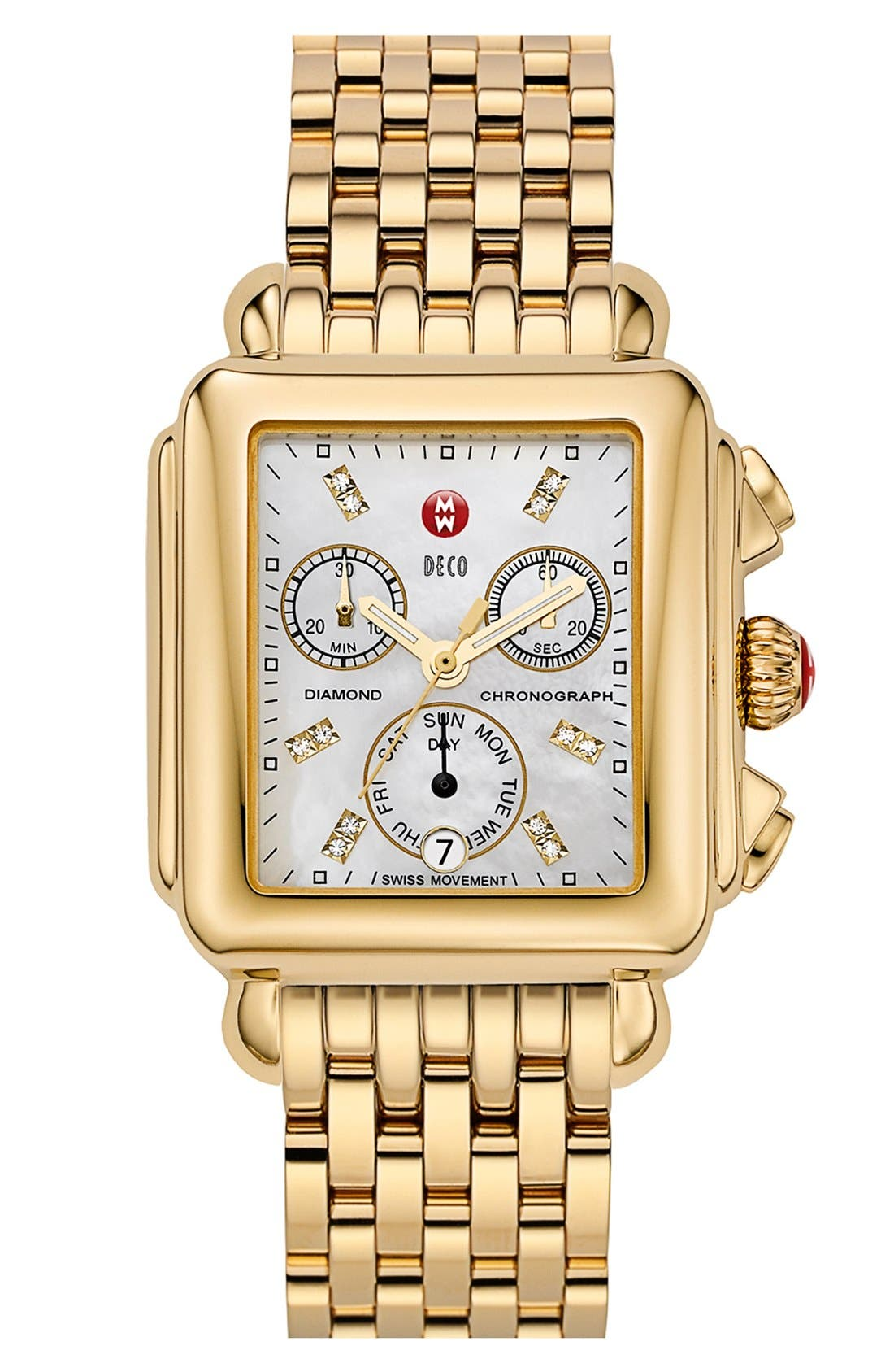 Deco Diamond Dial Gold Plated Watch Case, 33mm x 35mm,                             Alternate thumbnail 33, color,