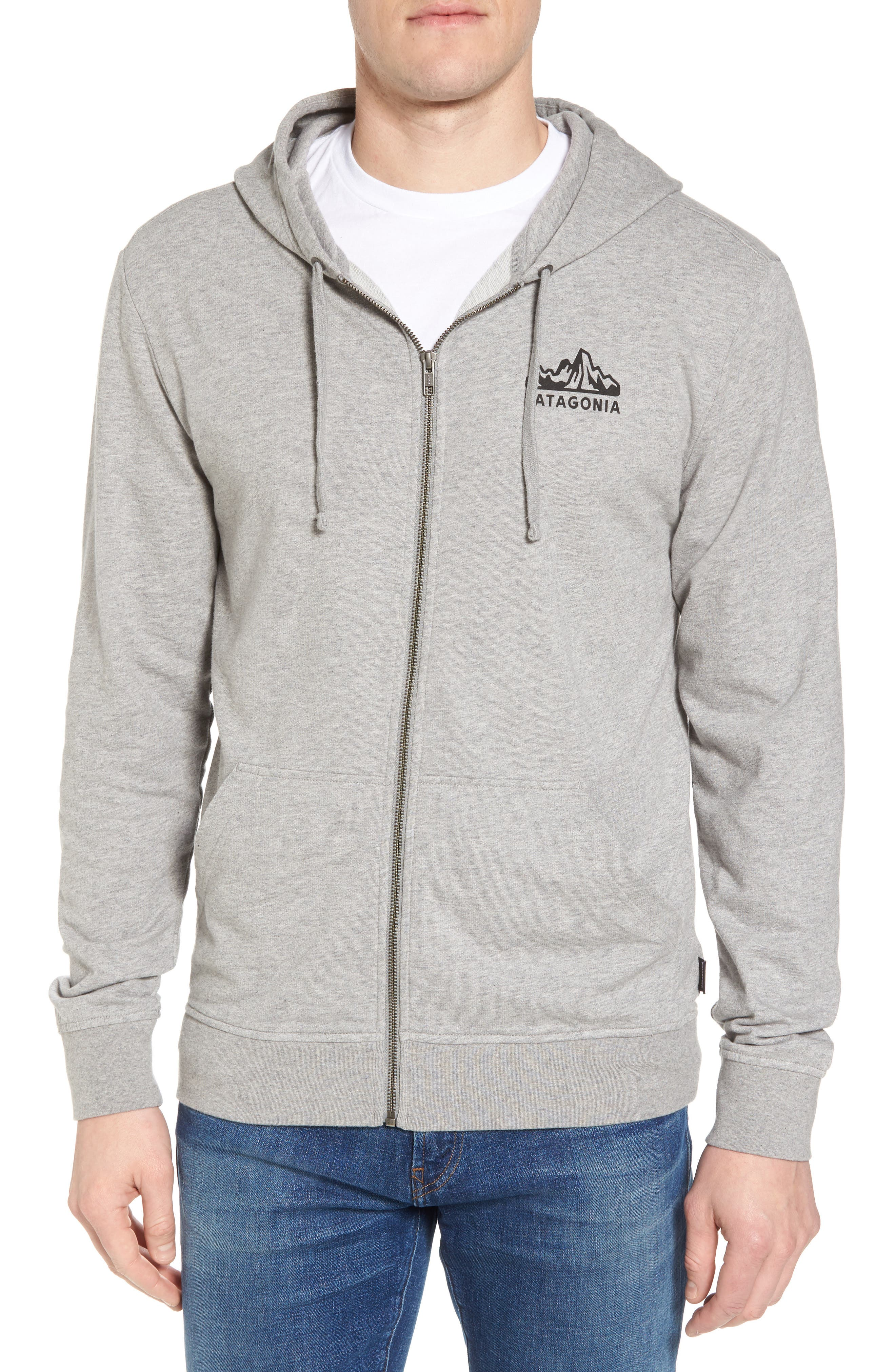 Fitz Roy Frostbite PolyCycle<sup>®</sup> Full Zip Hoodie,                             Main thumbnail 1, color,                             FEATHER GREY