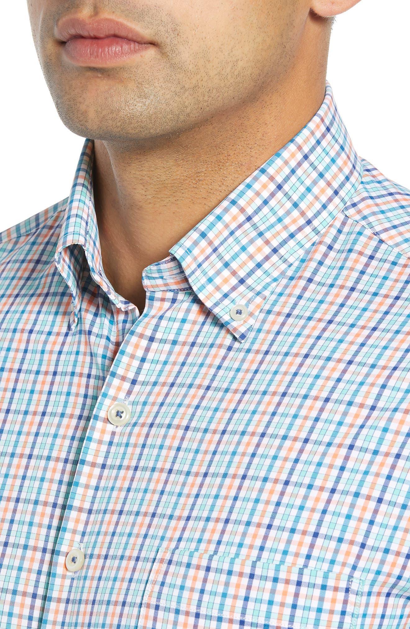 Lawson Regular Fit Tattersall Check Performance Sport Shirt,                             Alternate thumbnail 2, color,                             BLUE