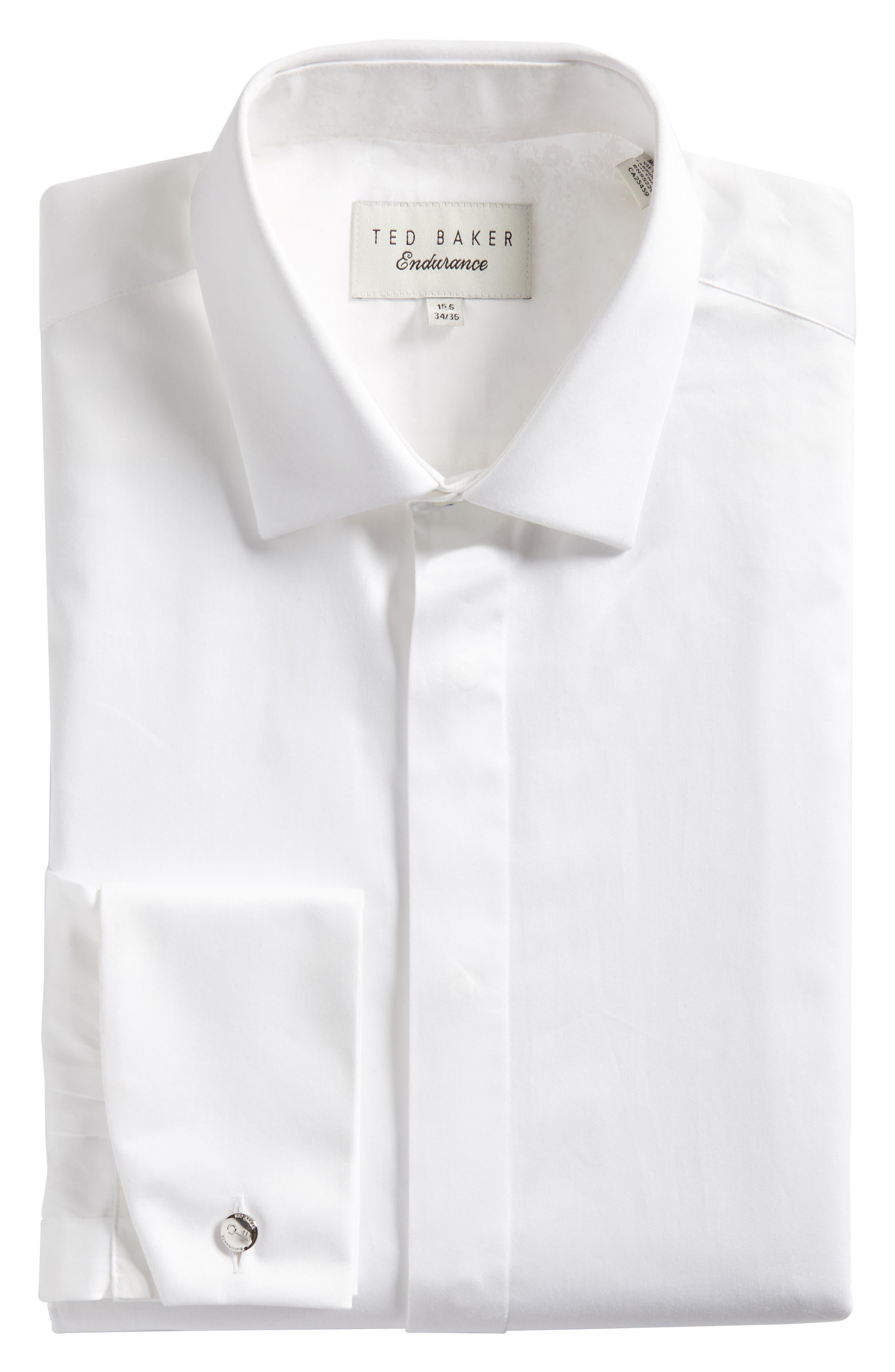 Fedra Trim Fit Tuxedo Shirt,                             Alternate thumbnail 5, color,                             WHITE