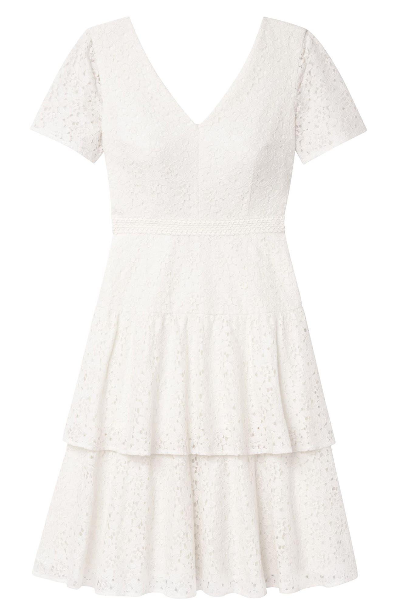 Doris Bow Back Tiered Skirt Lace Dress,                             Alternate thumbnail 6, color,                             CREAM