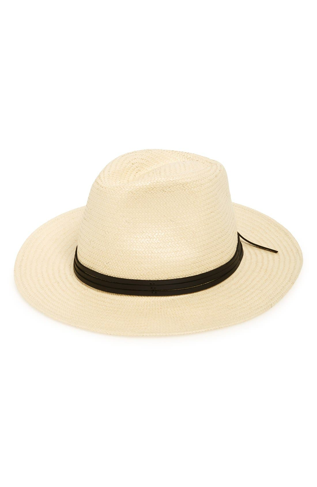BRIXTON 'Pacific' Straw Fedora, Main, color, BEIGE