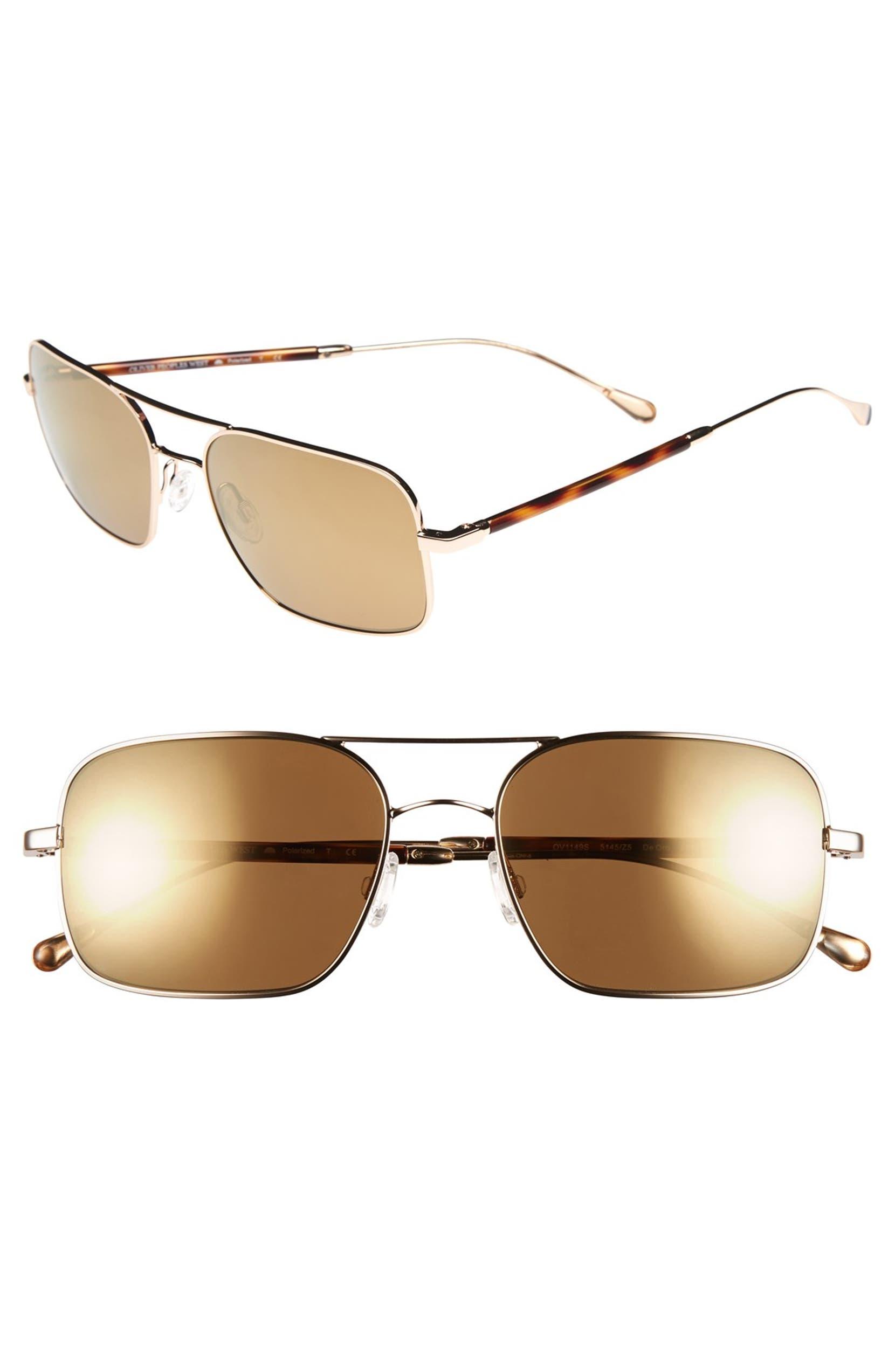 8235a5c2a8 Oliver Peoples West Sunglasses  De Oro  56mm Polarized Metal Aviator  Sunglasses