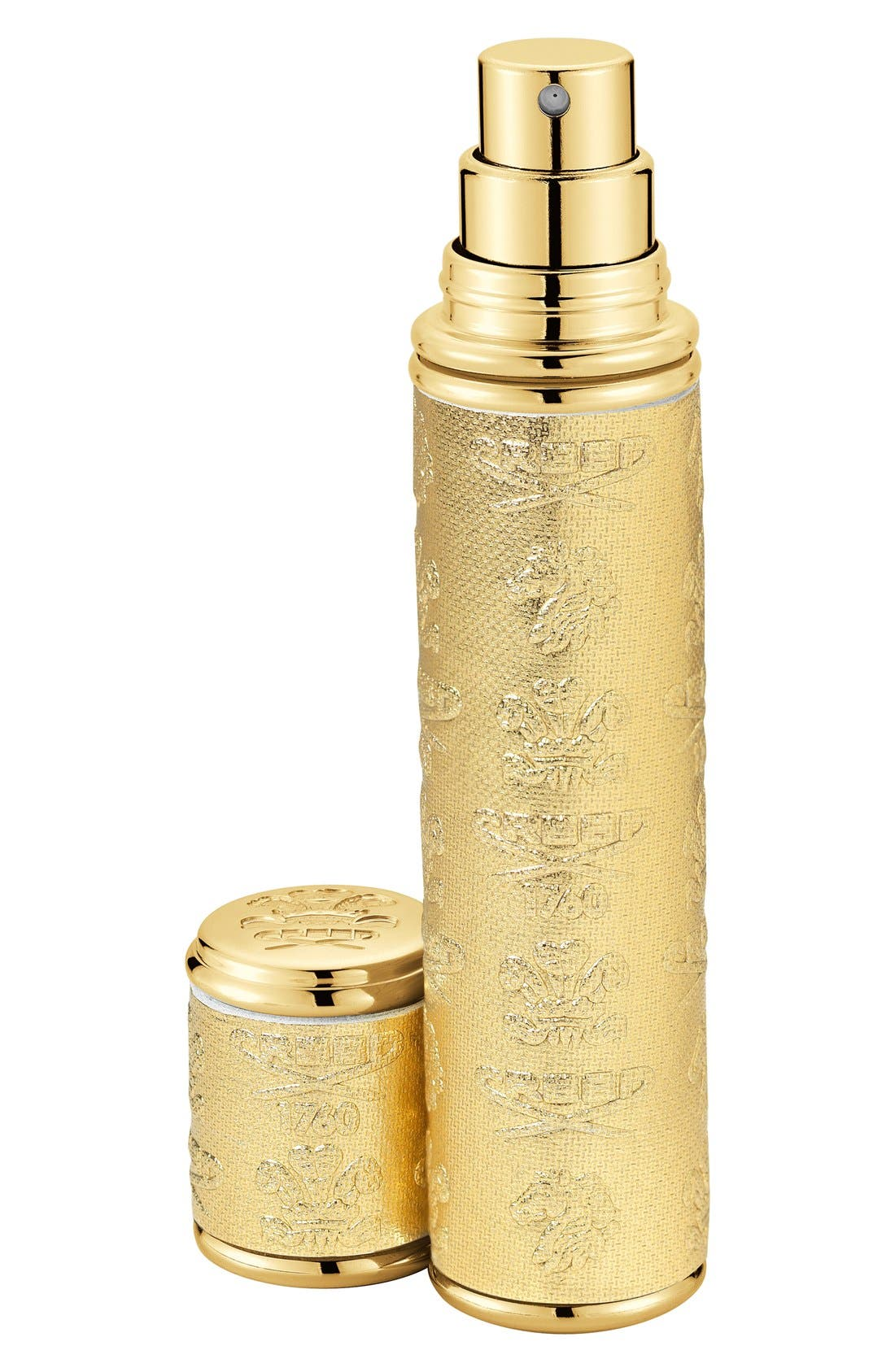 Gold with Gold Trim Leather Atomizer,                             Main thumbnail 1, color,                             NO COLOR
