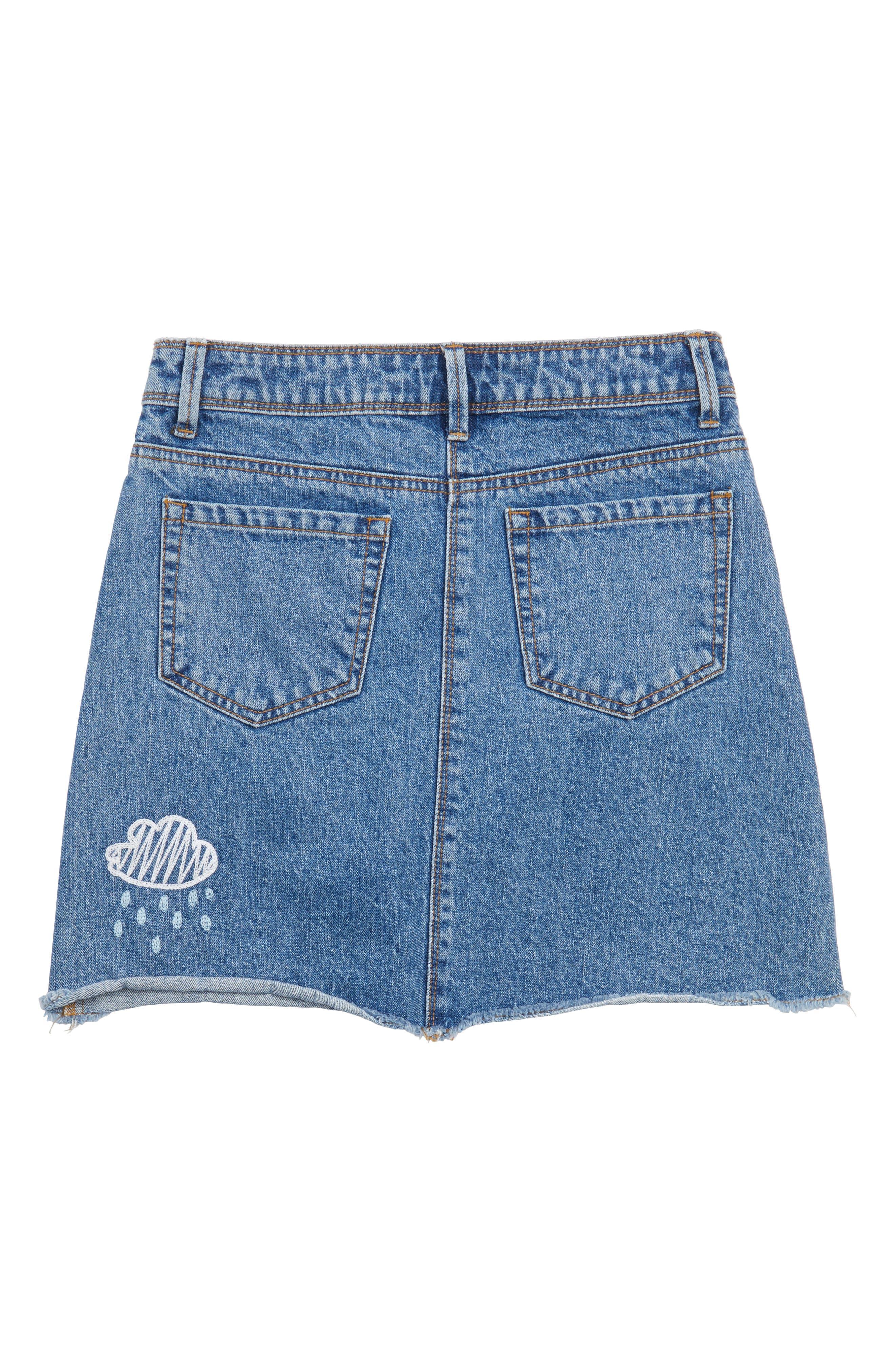Embroidered Denim Skirt,                             Alternate thumbnail 2, color,                             487