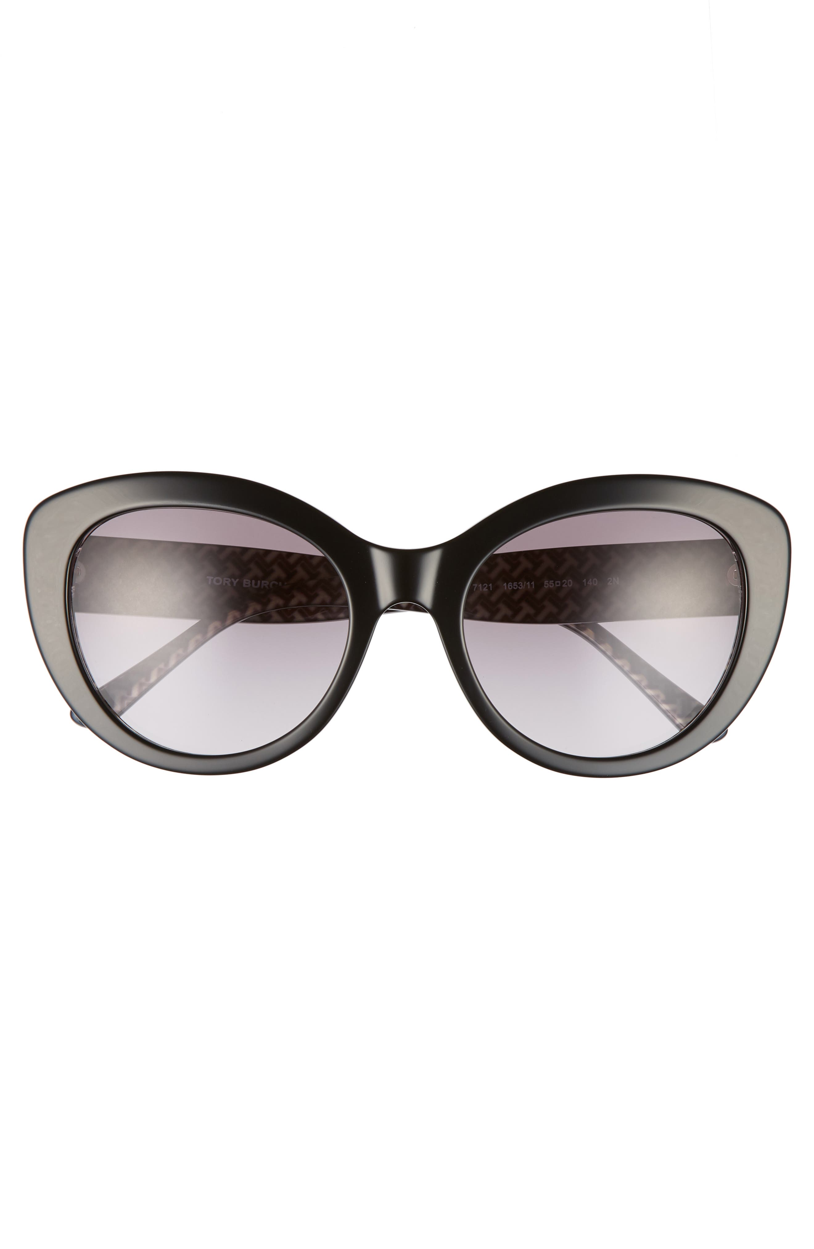 Serif T 55mm Cat Eye Sunglasses,                             Alternate thumbnail 3, color,                             BLACK