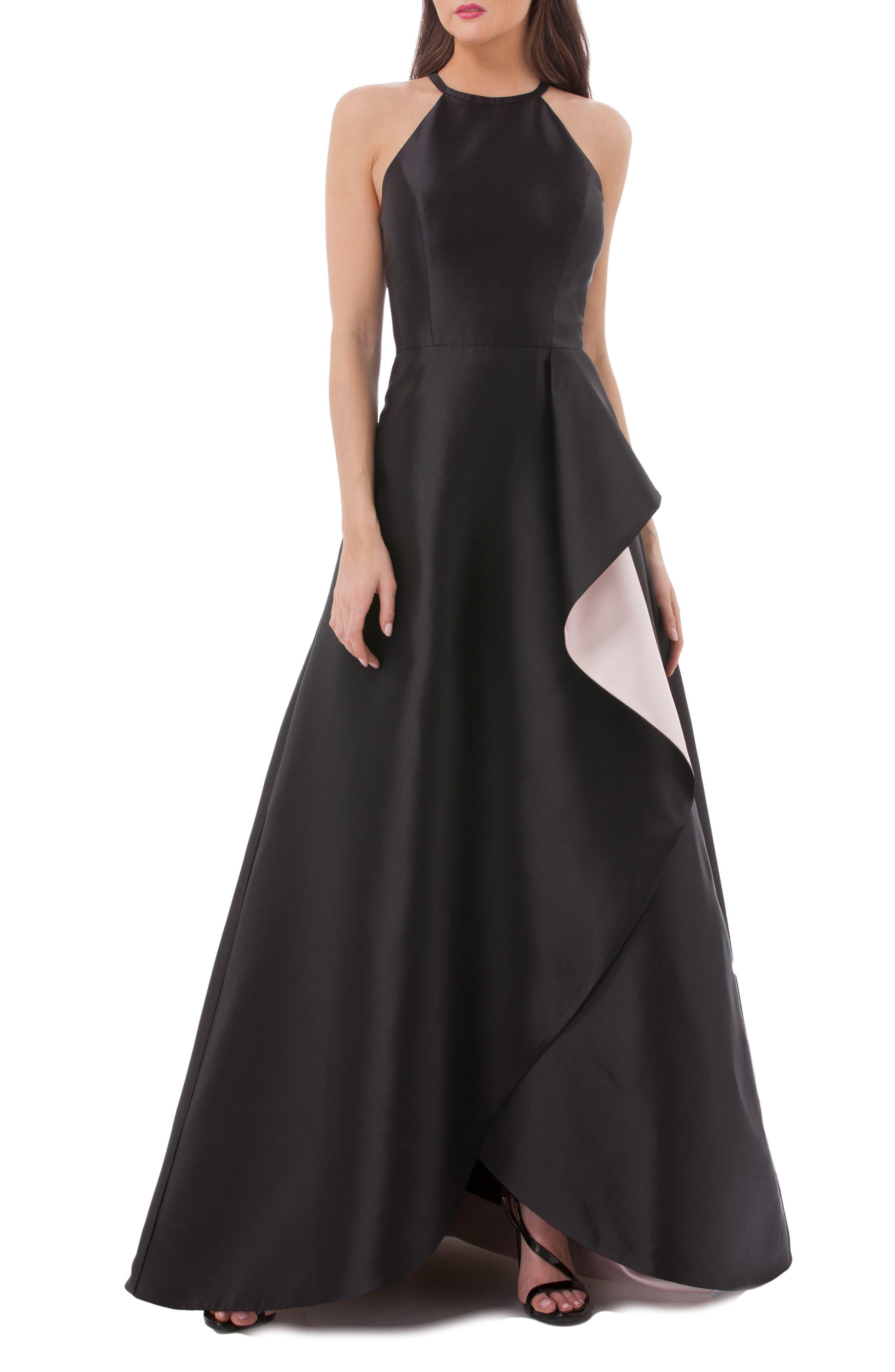 Carmen Marc Valvo Side Drape Mikado Halter Gown,                         Main,                         color,