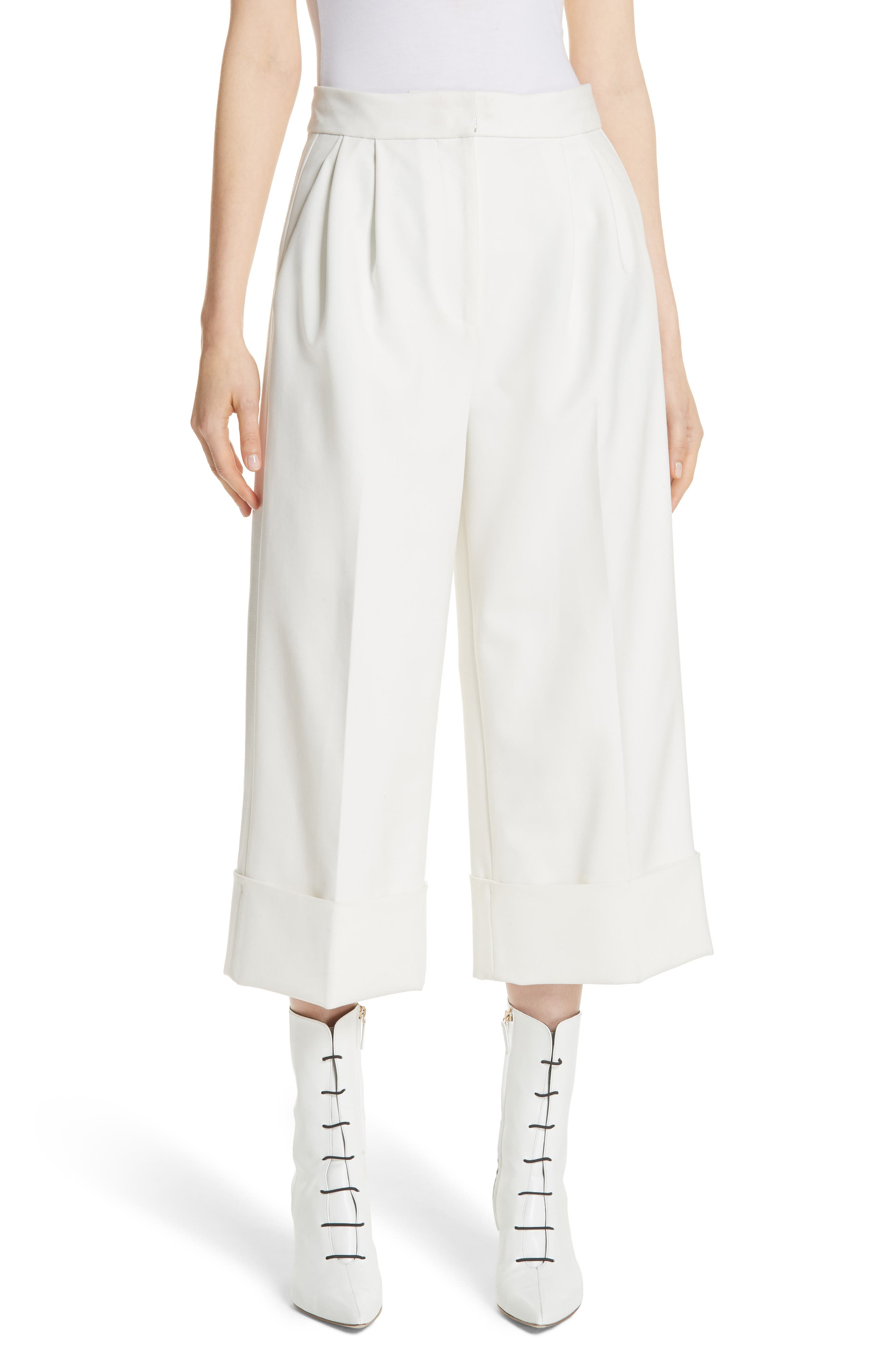 Anson Stretch Cuffed Tuxedo Pants in Ivory
