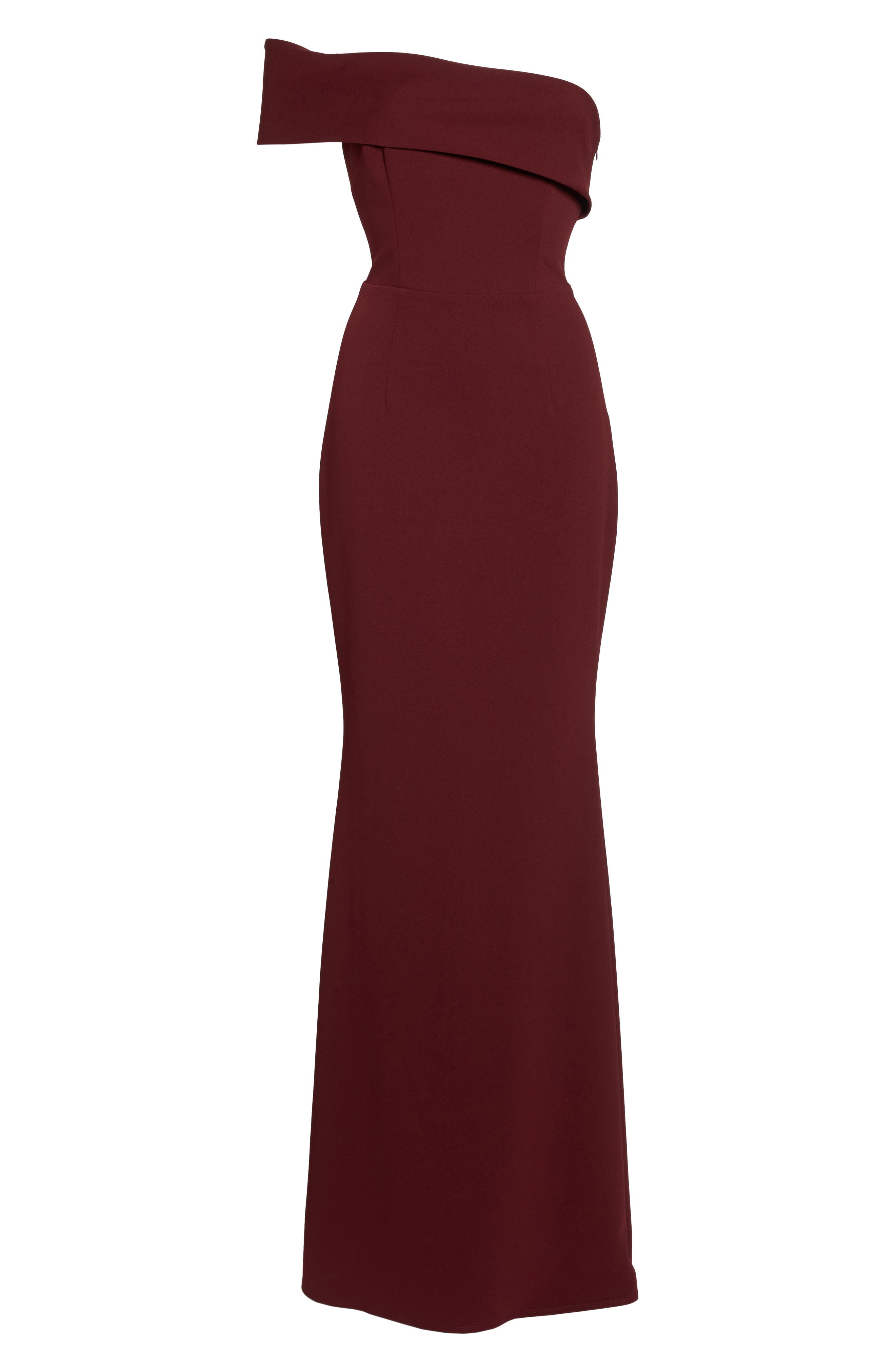 Titan One-Shoulder Cutout Crepe Gown,                             Alternate thumbnail 6, color,                             BORDEAUX