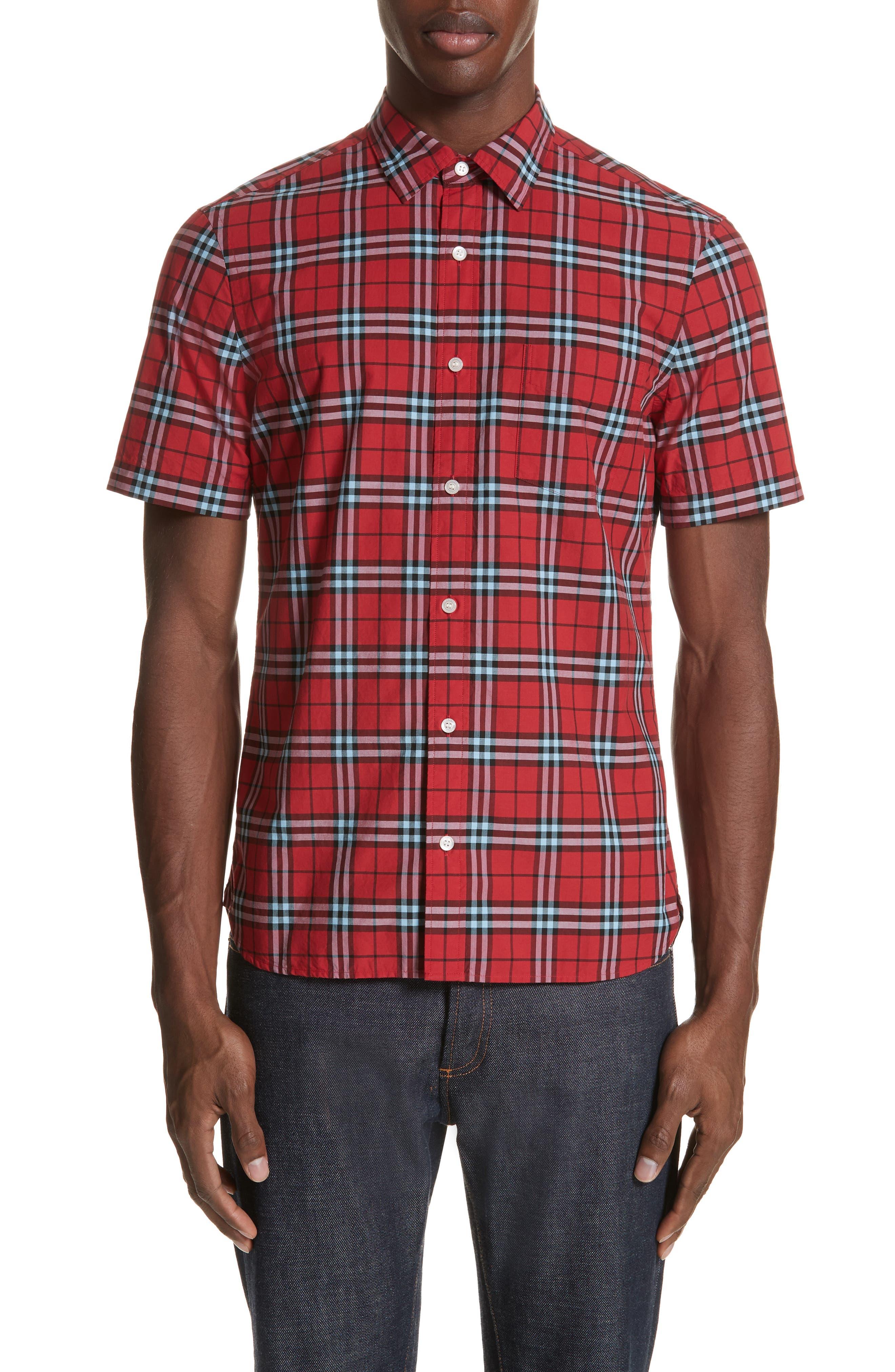 Alexander Check Sport Shirt,                         Main,                         color, BRIGHT RED
