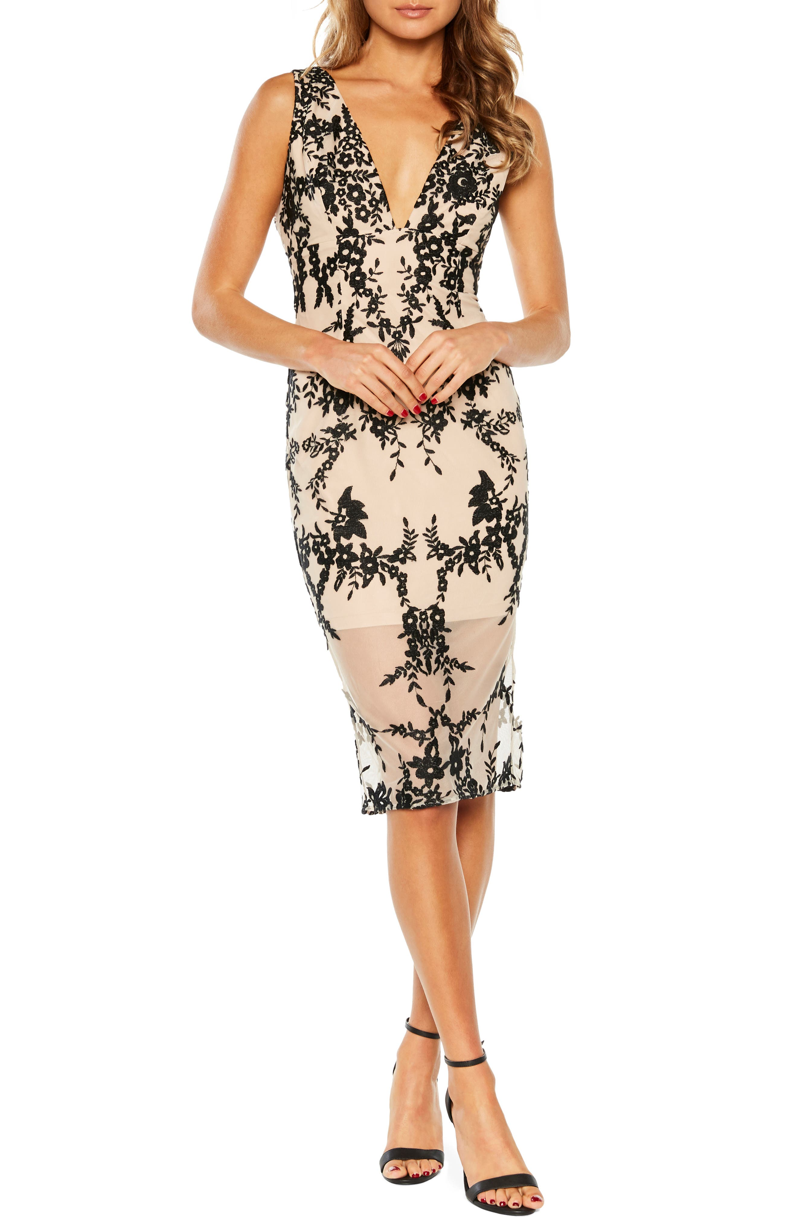 Bardot Embroidered Body-Con Dress, Black