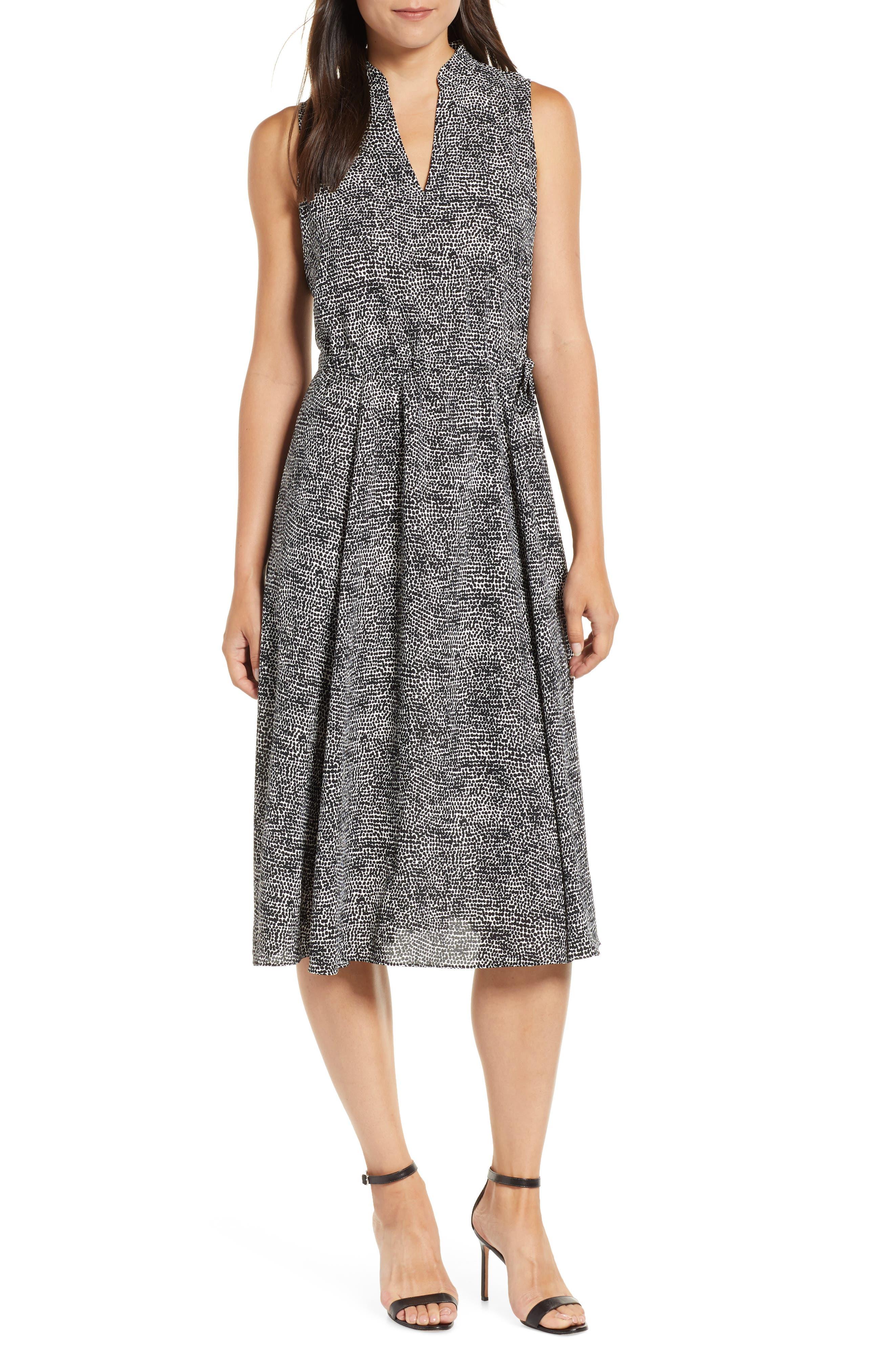 Sleeveless Print Midi Dress,                             Main thumbnail 1, color,                             ANNE WHITE/ ANNE BLACK