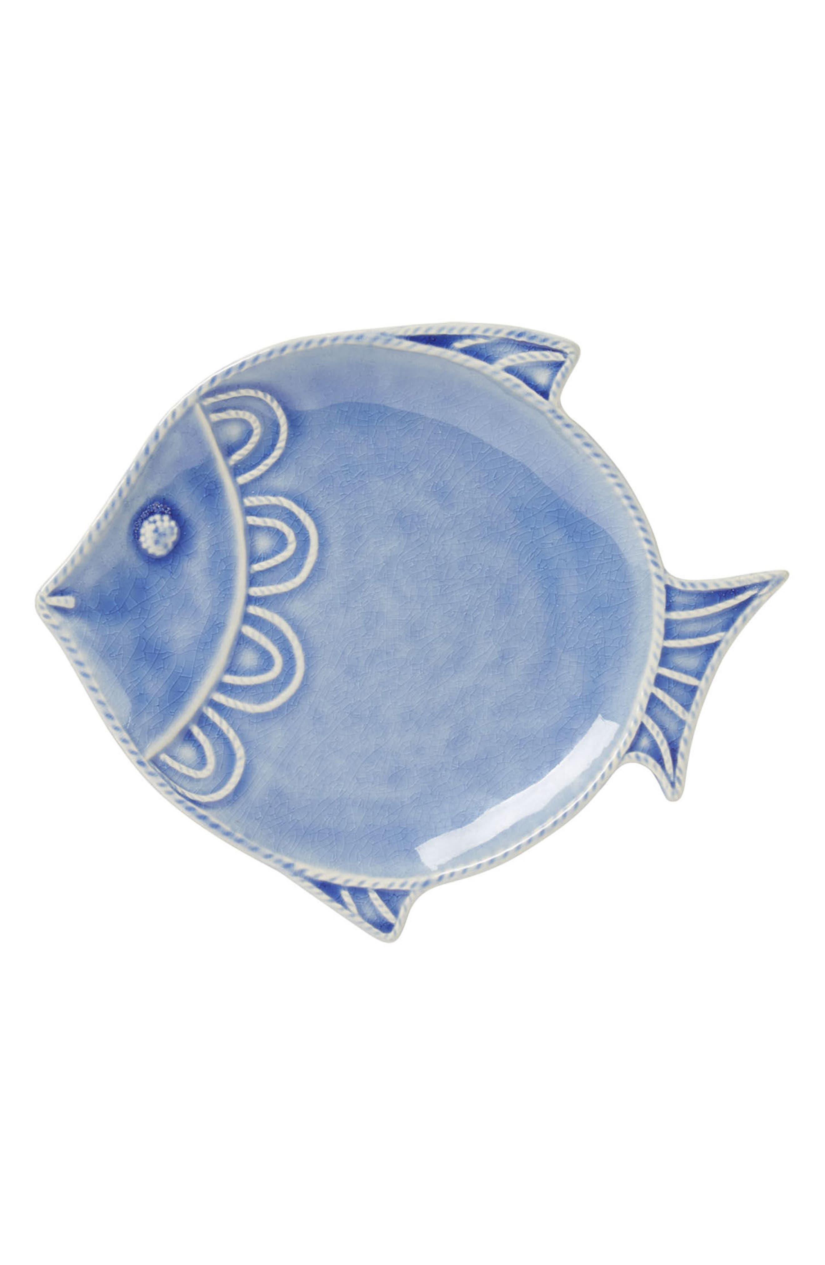 Berry & Thread Ceramic Fish Plate,                             Main thumbnail 1, color,                             DELFT BLUE