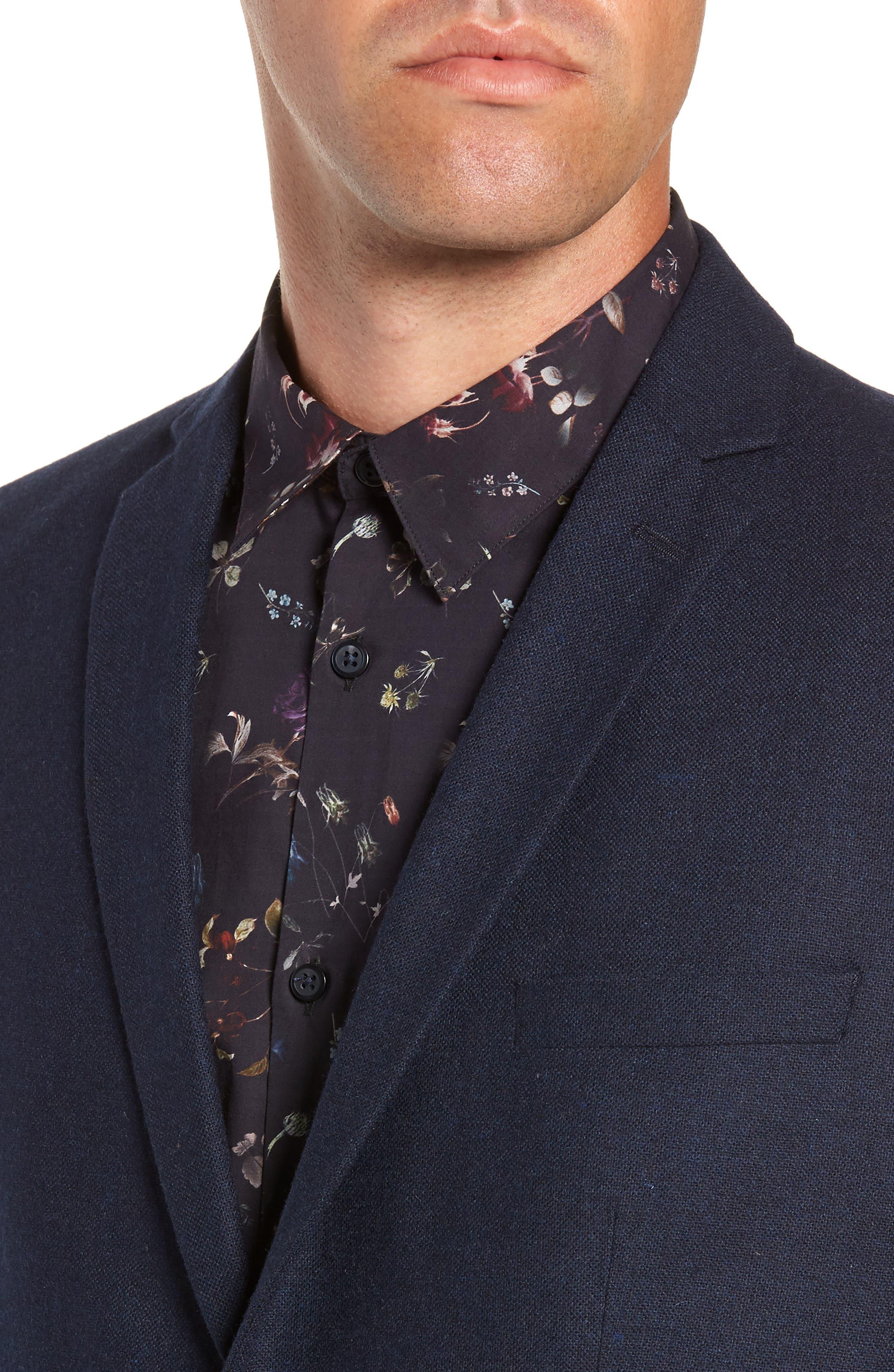 Myloiver Slim Fit Wool Blend Blazer,                             Alternate thumbnail 4, color,                             DARK NAVY