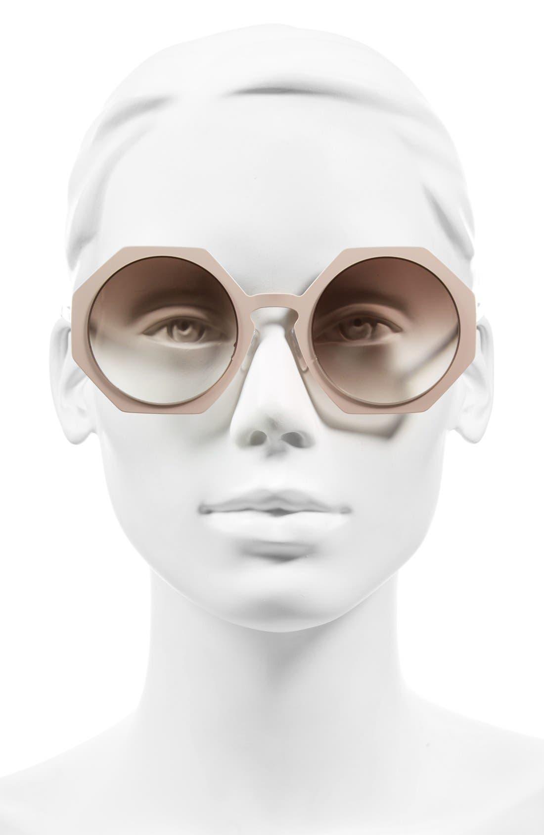 51mm Retro Octagon Sunglasses,                             Alternate thumbnail 5, color,