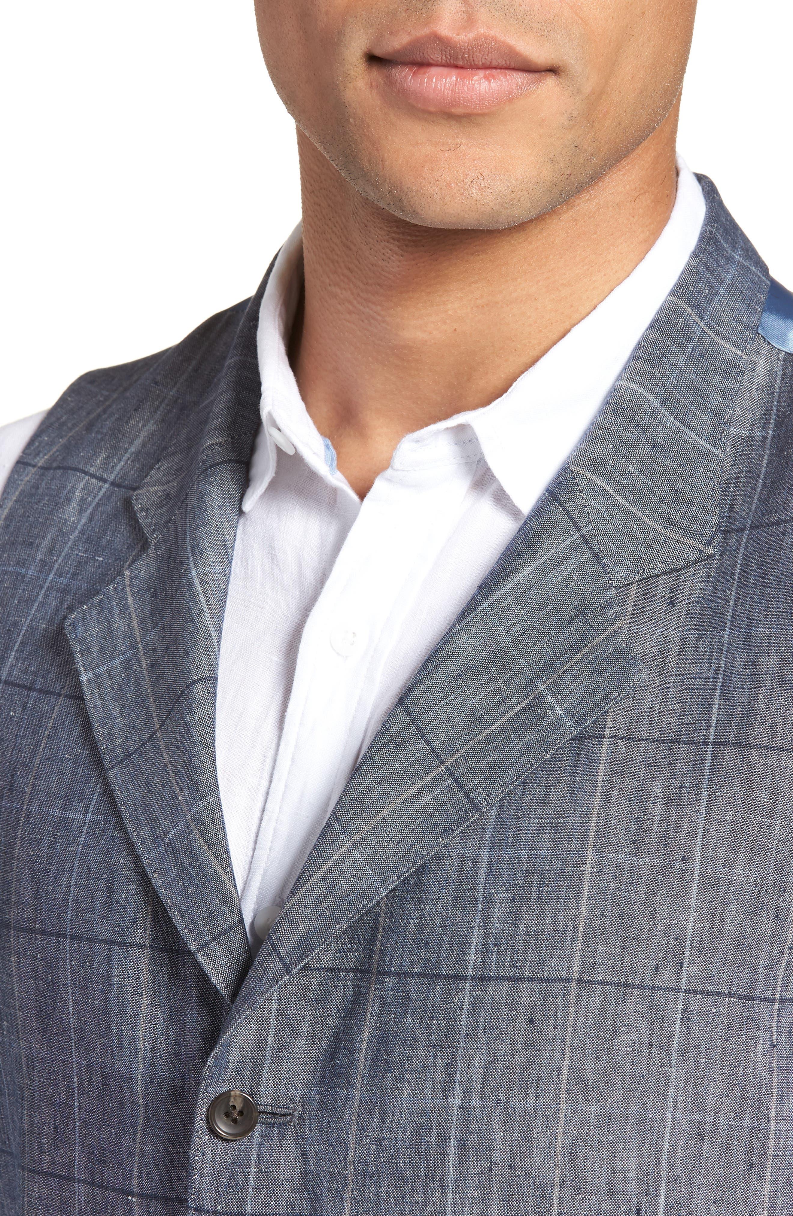 Stag Trim Fit Windowpane Linen Vest,                             Alternate thumbnail 4, color,