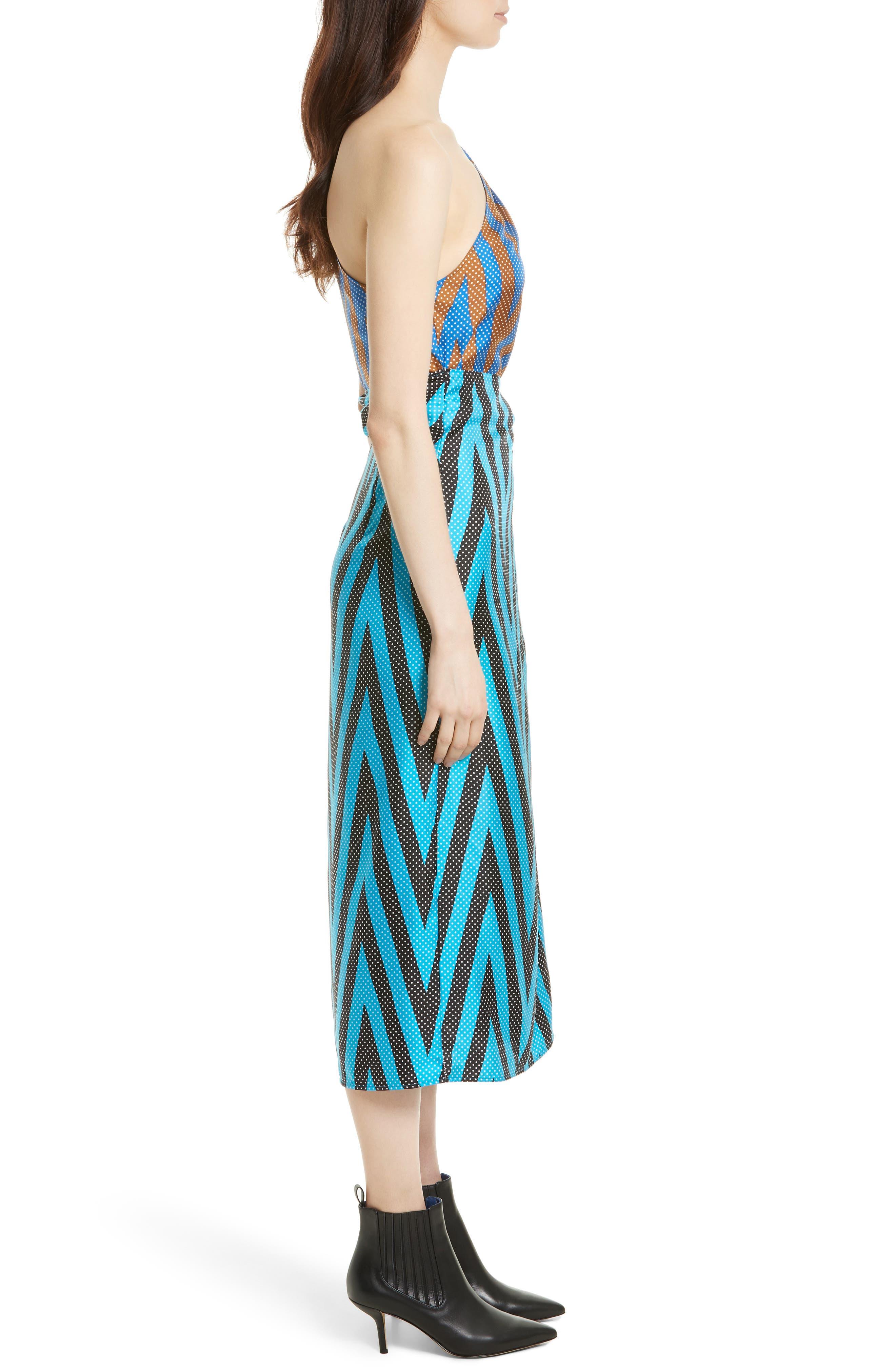 One-Shoulder Silk Scarf Dress,                             Alternate thumbnail 3, color,                             414