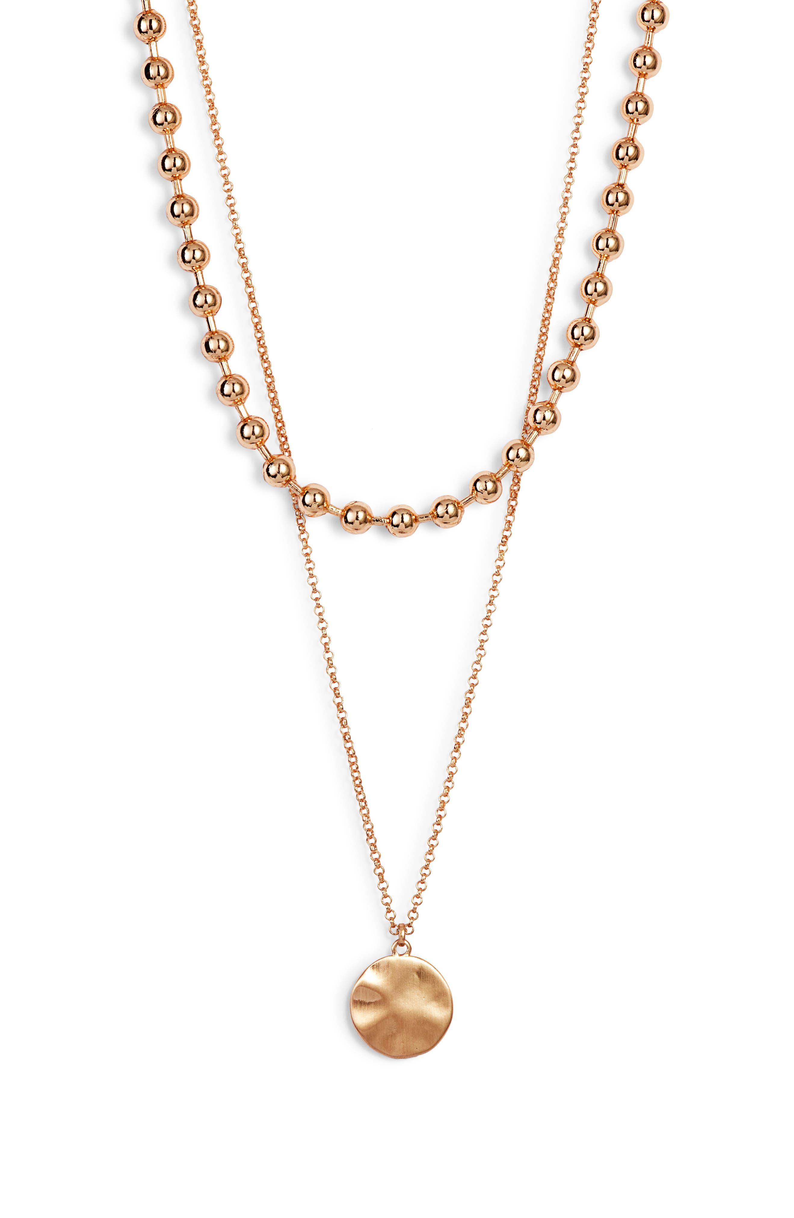 2-in-1 Ball Chain Disc Necklace,                             Main thumbnail 1, color,                             710