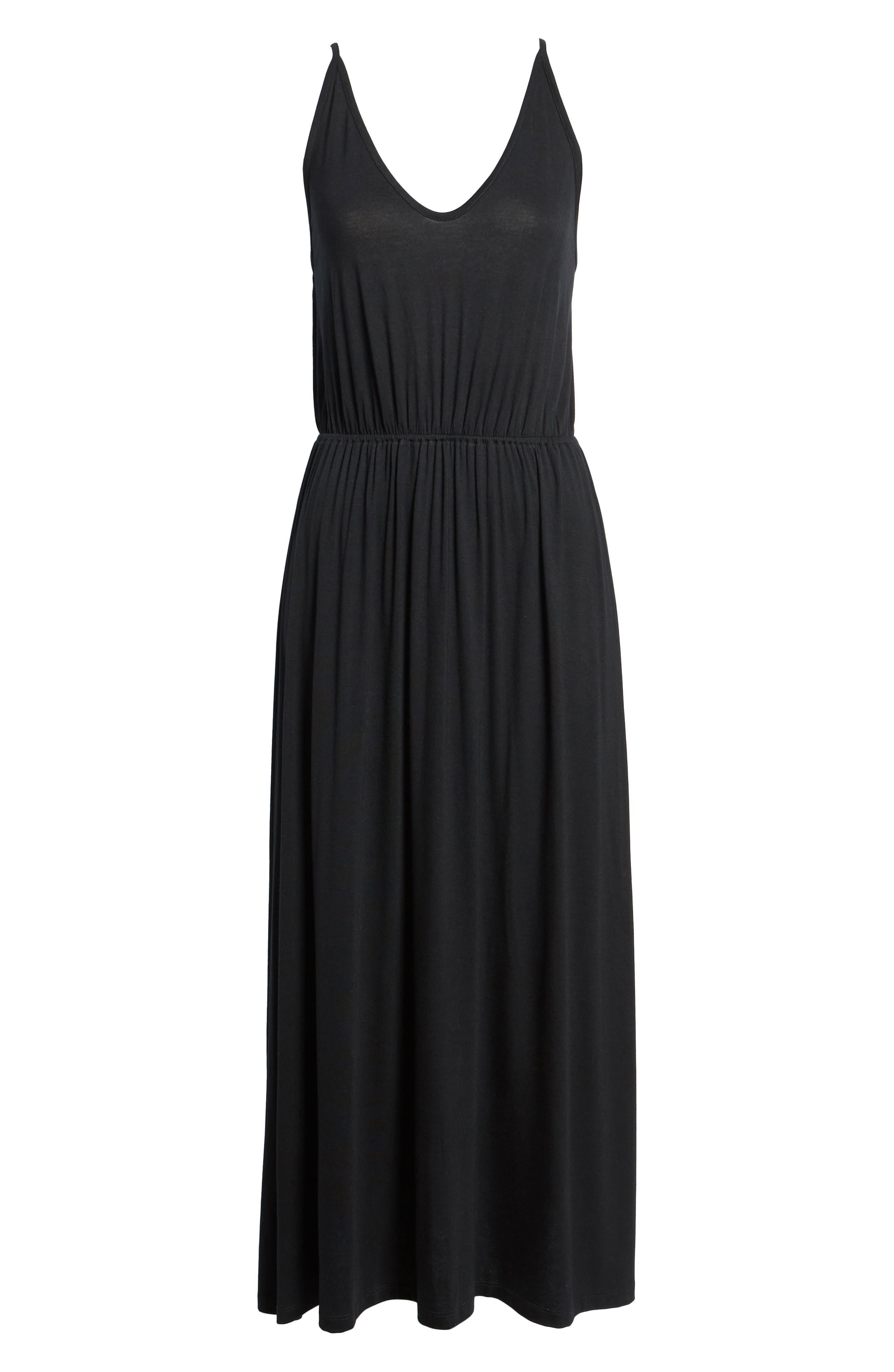 V-Neck Maxi Dress,                             Alternate thumbnail 6, color,                             001