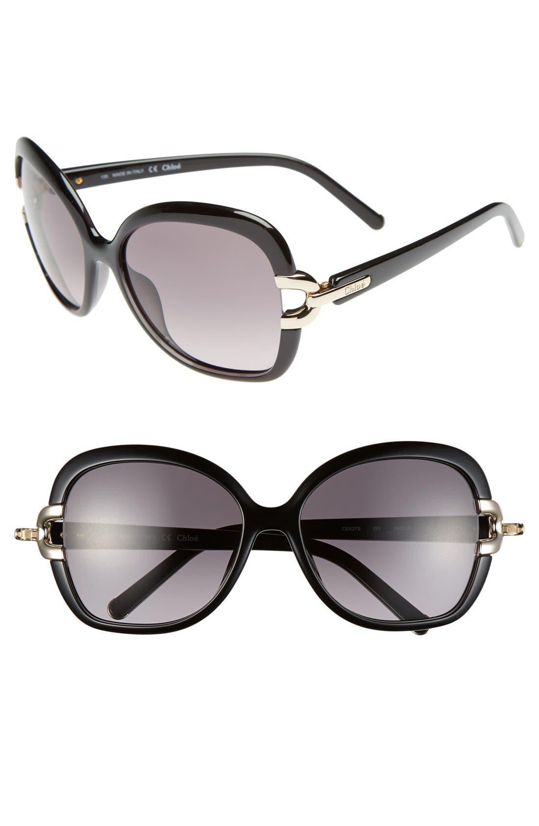 'Brunelle' 58mm Sunglasses, Main, color, 001