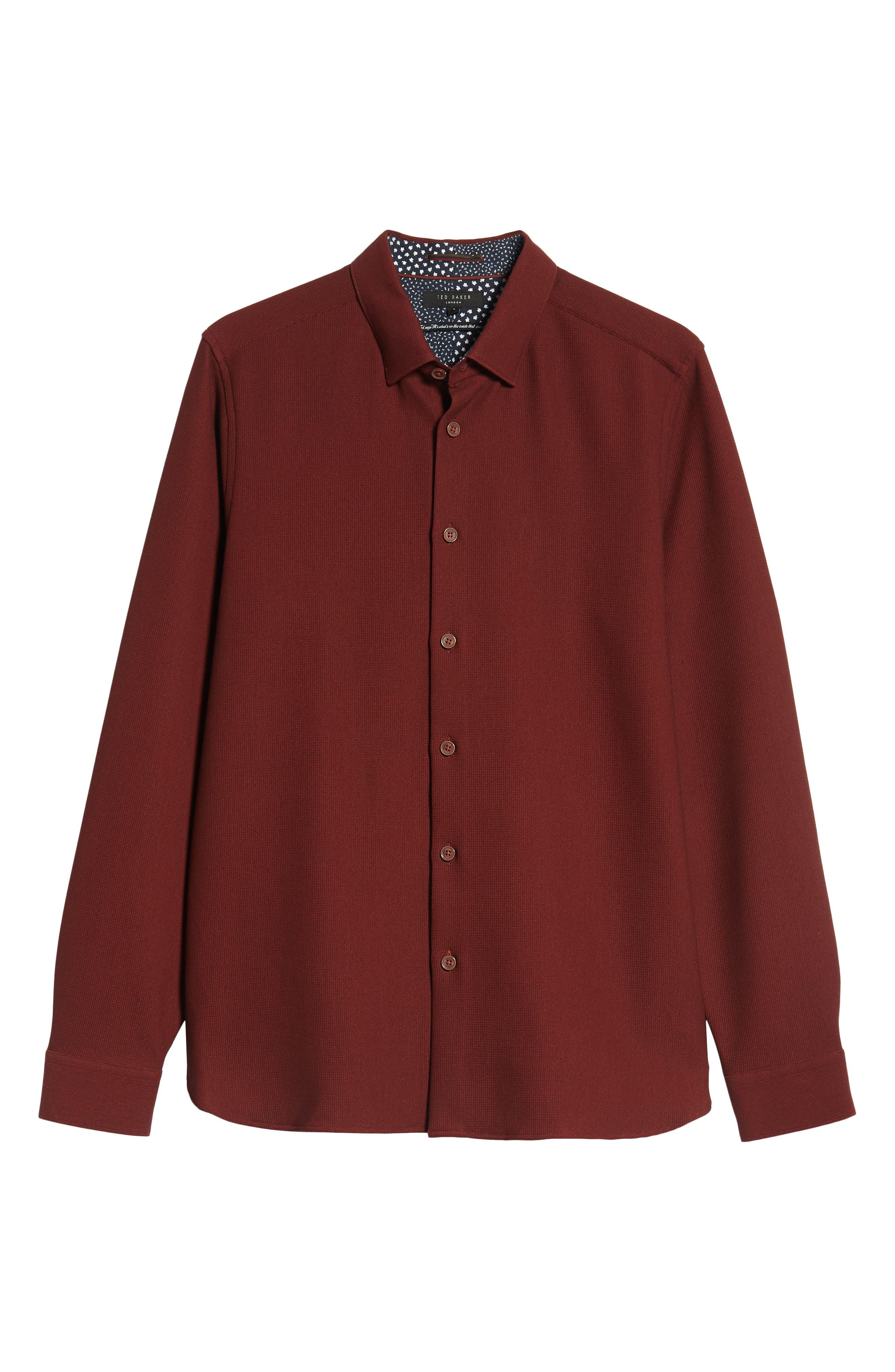 Piccatt Extra Slim Fit Stretch Solid Sport Shirt,                             Alternate thumbnail 5, color,                             DARK RED