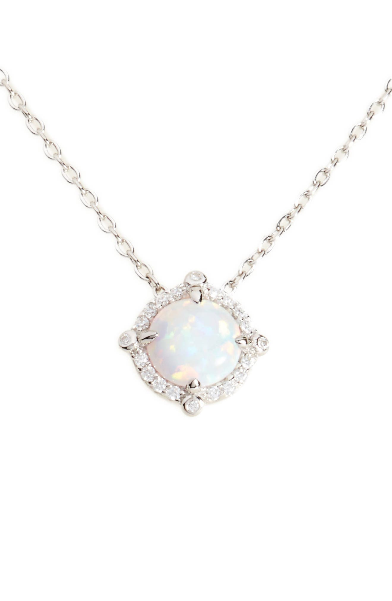 Simulated Diamond & Opal Necklace,                         Main,                         color, SILVER/ OPAL/ CLEAR