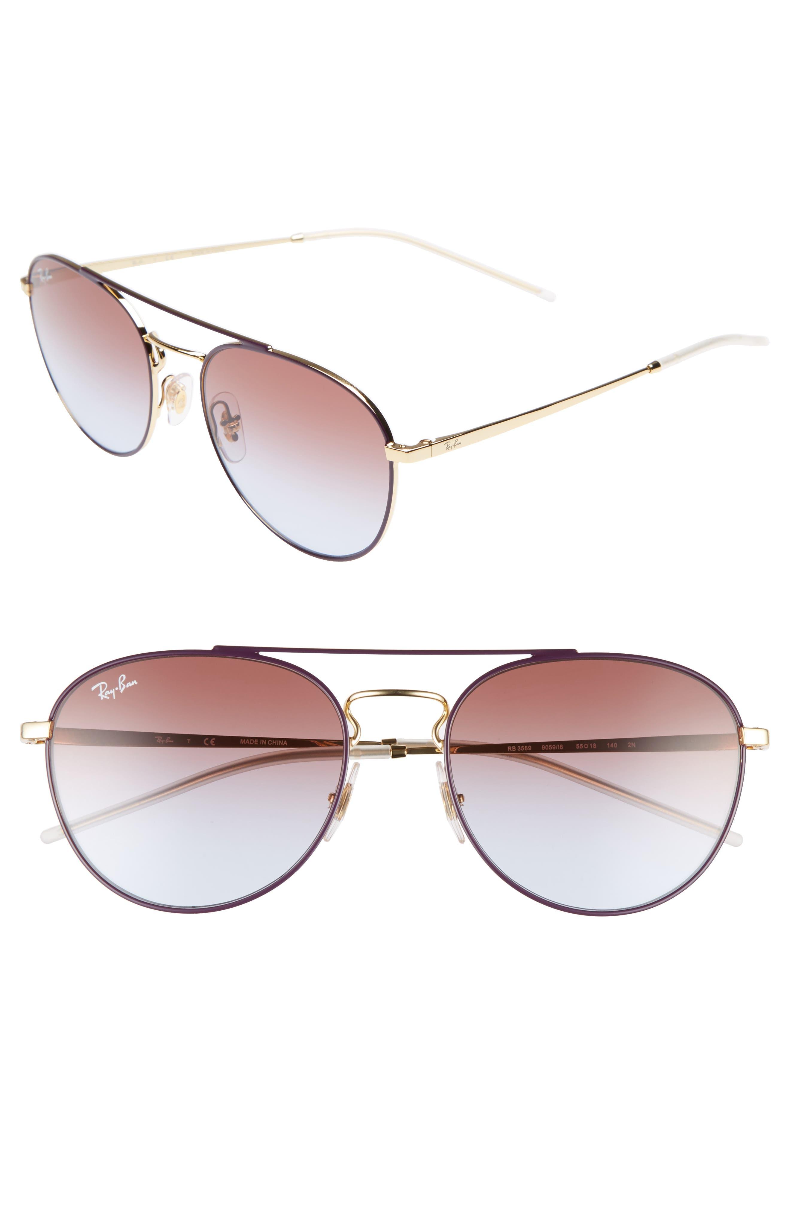 55mm Gradient Lens Round Aviator Sunglasses,                             Main thumbnail 3, color,