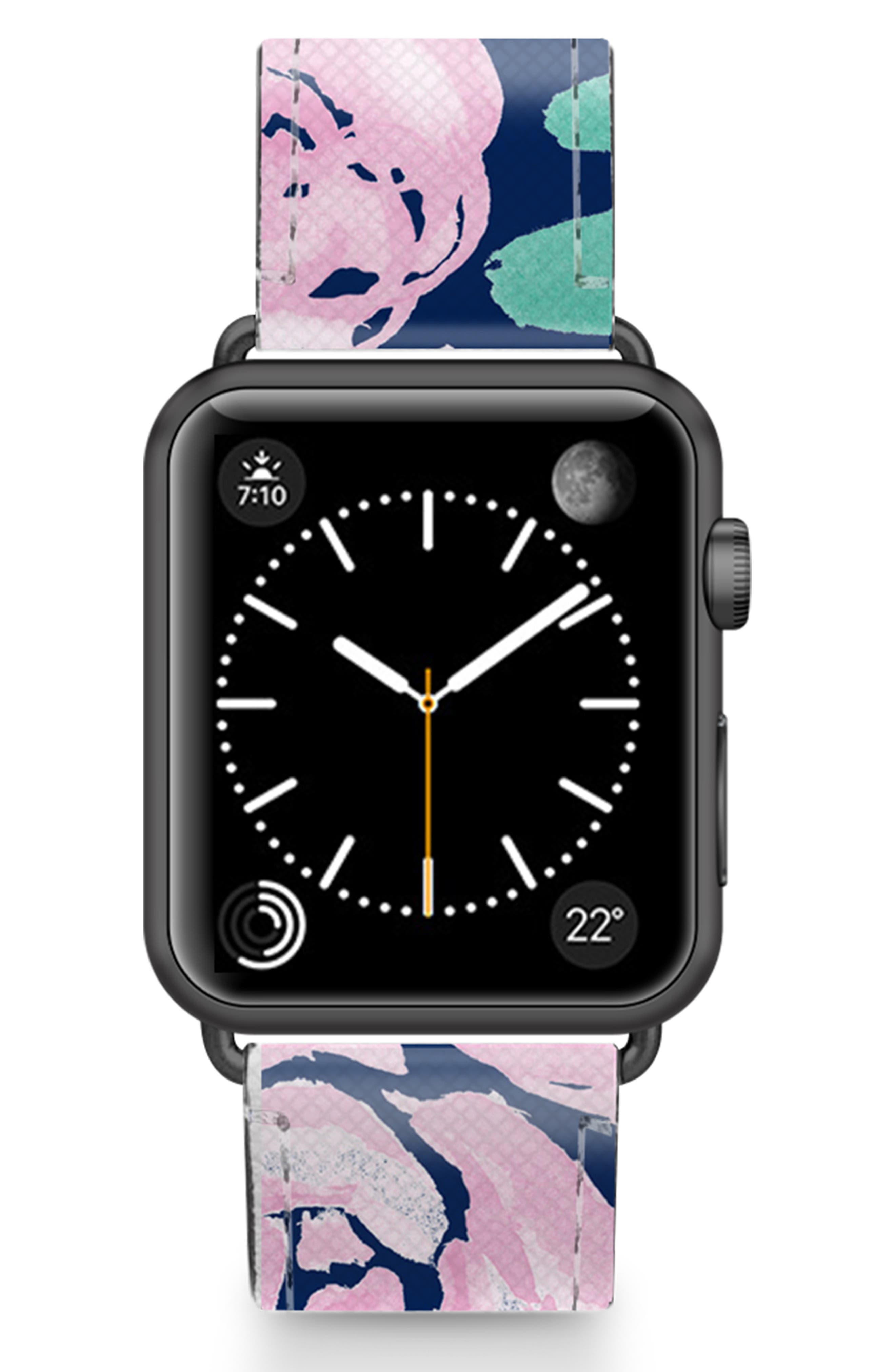 Pink Peonies Saffiano Faux Leather Apple Watch Strap,                             Main thumbnail 1, color,                             PINK/ BLACK
