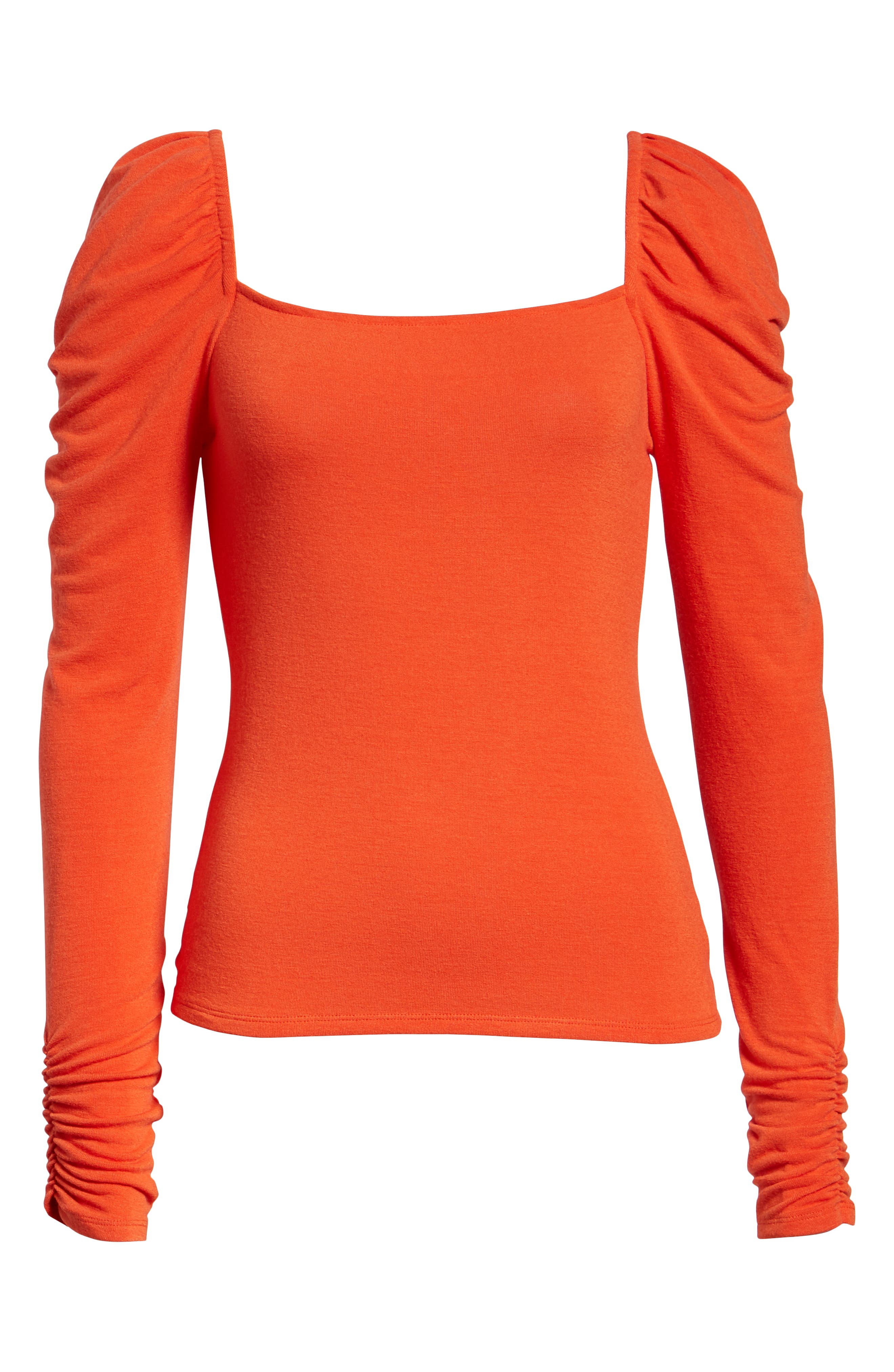 Square Neck Slim Knit Top,                             Alternate thumbnail 6, color,                             RED POINCIANA