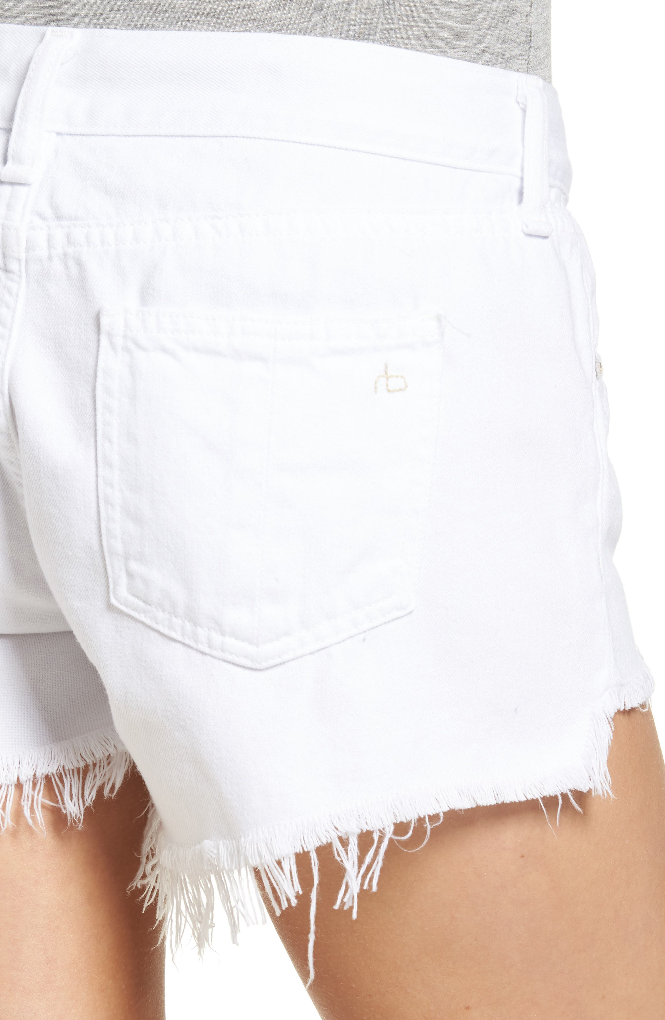 Ripped Cutoff Denim Shorts,                             Alternate thumbnail 4, color,                             126