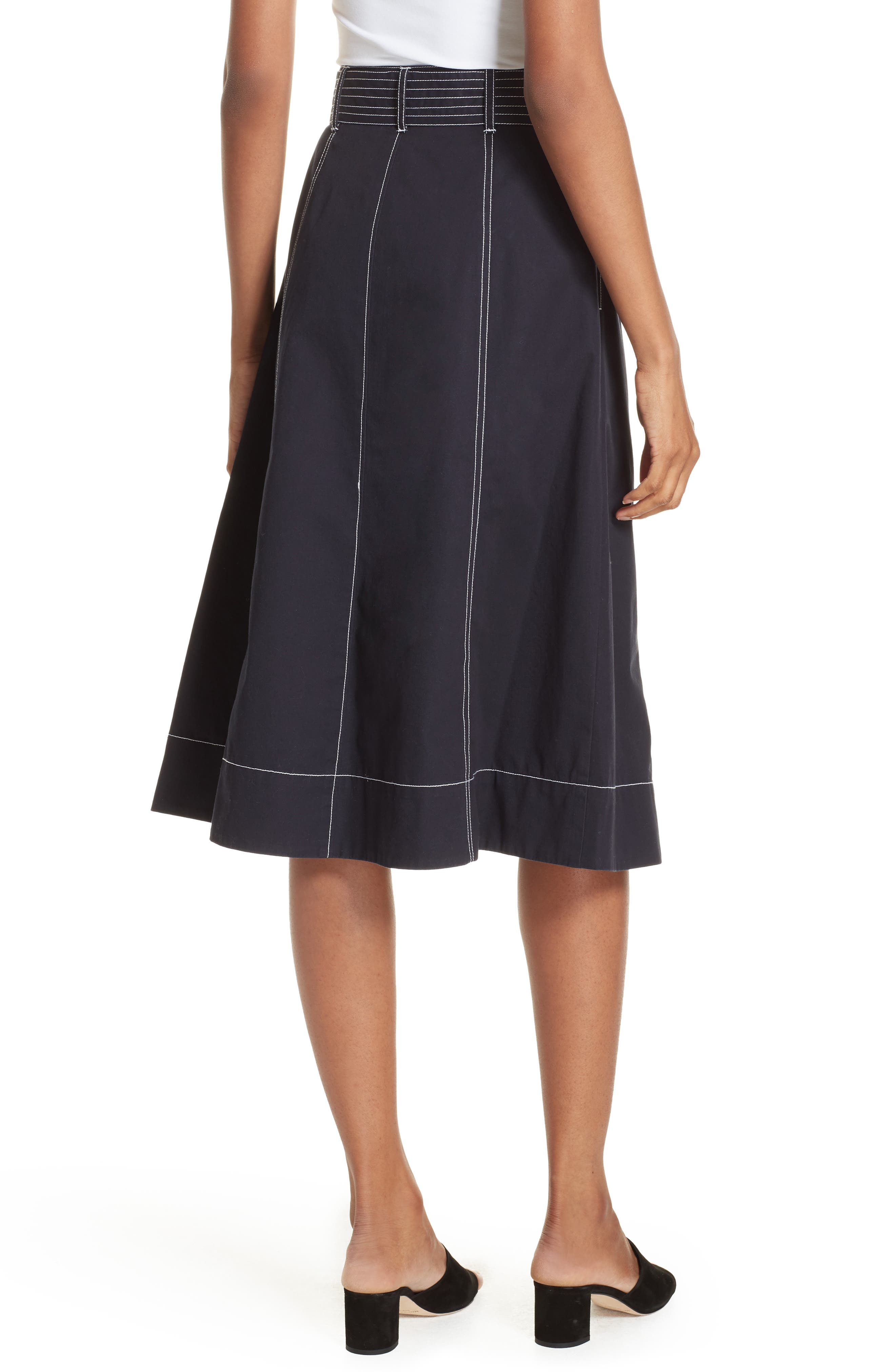 Mayaly Belted Cotton Skirt,                             Alternate thumbnail 2, color,                             MIDNIGHT