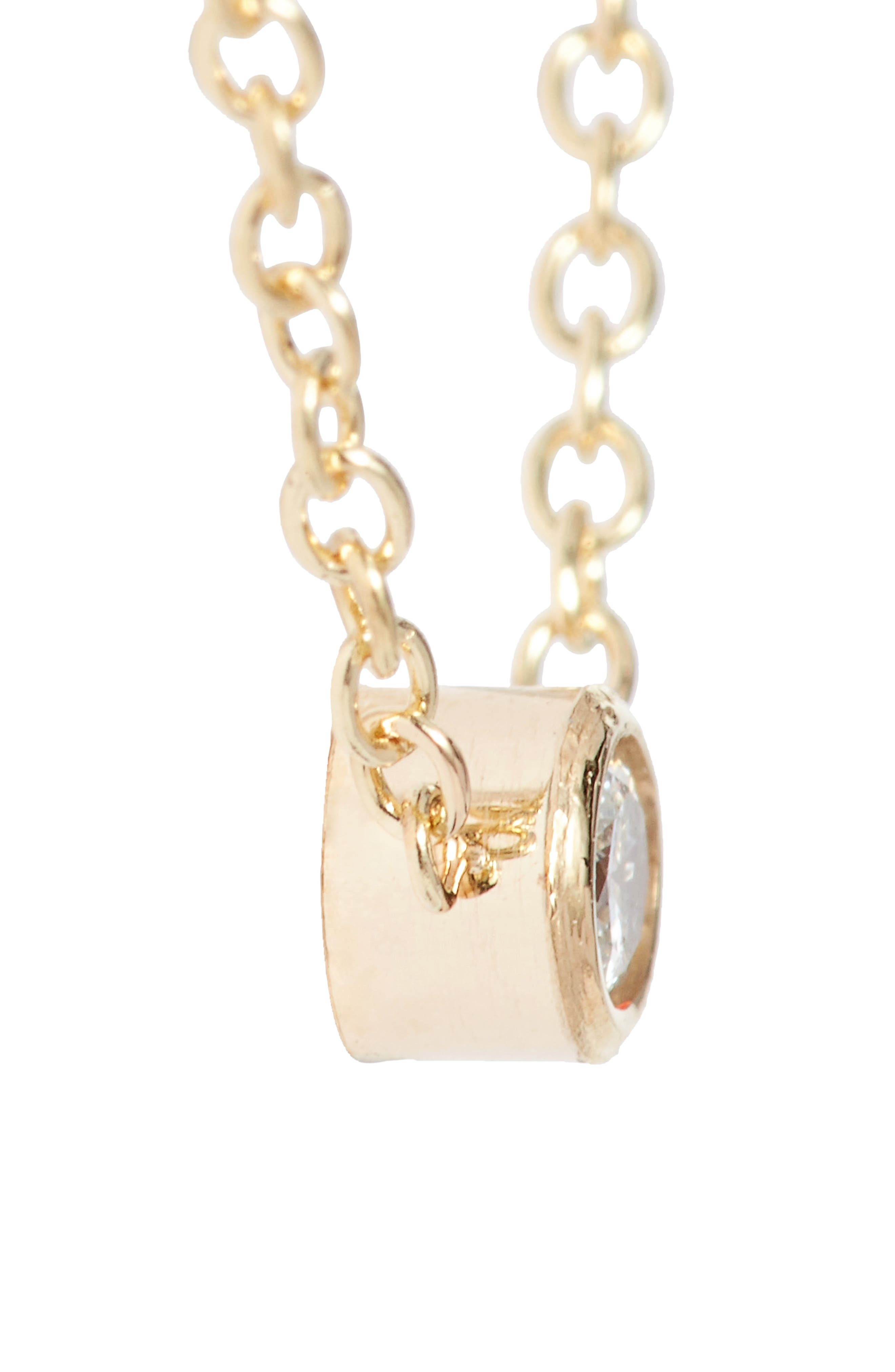 Diamond Bezel Pendant Necklace,                             Alternate thumbnail 4, color,                             YELLOW GOLD