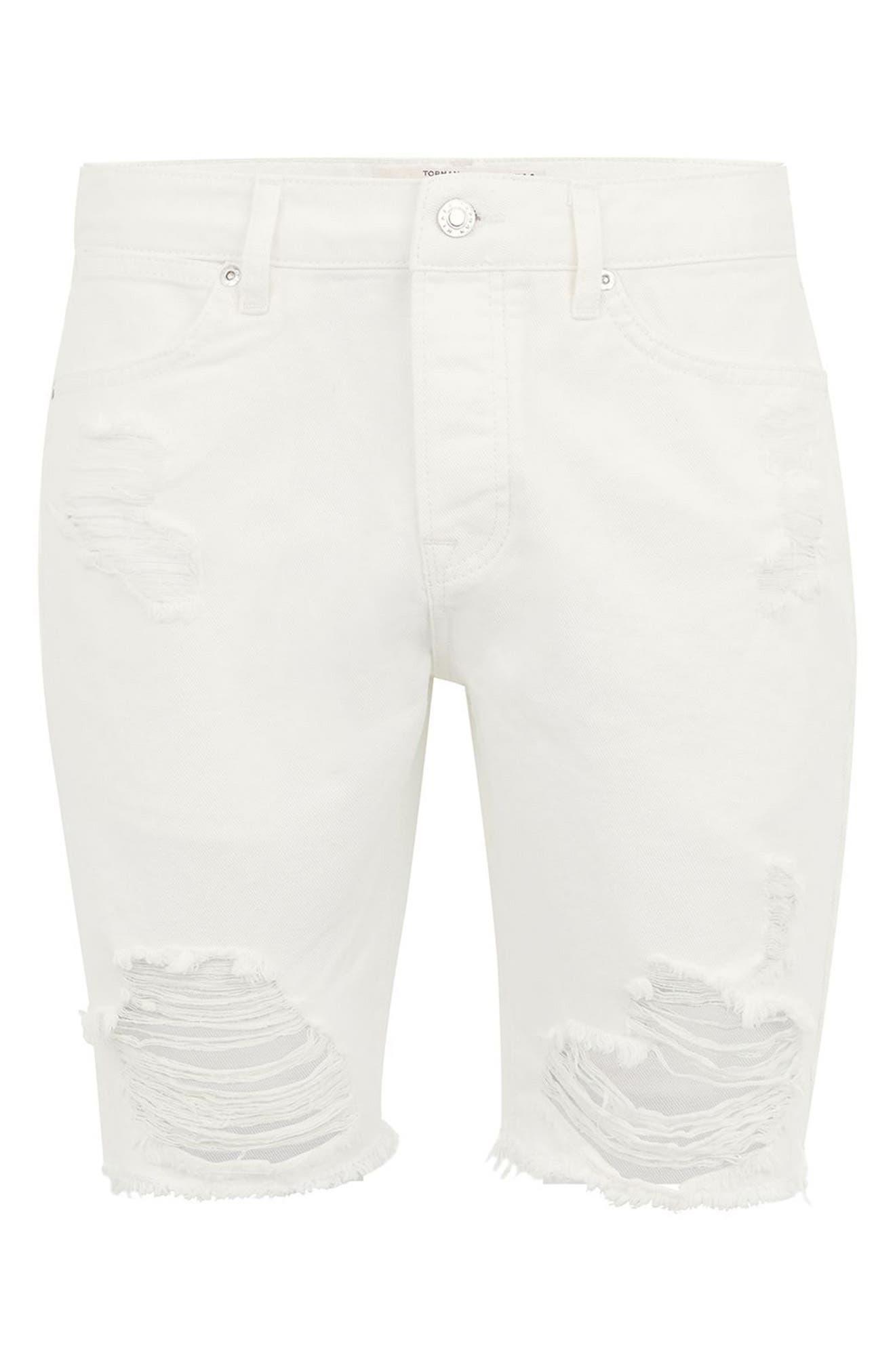 Slim Fit Ripped Denim Shorts,                             Alternate thumbnail 4, color,                             100
