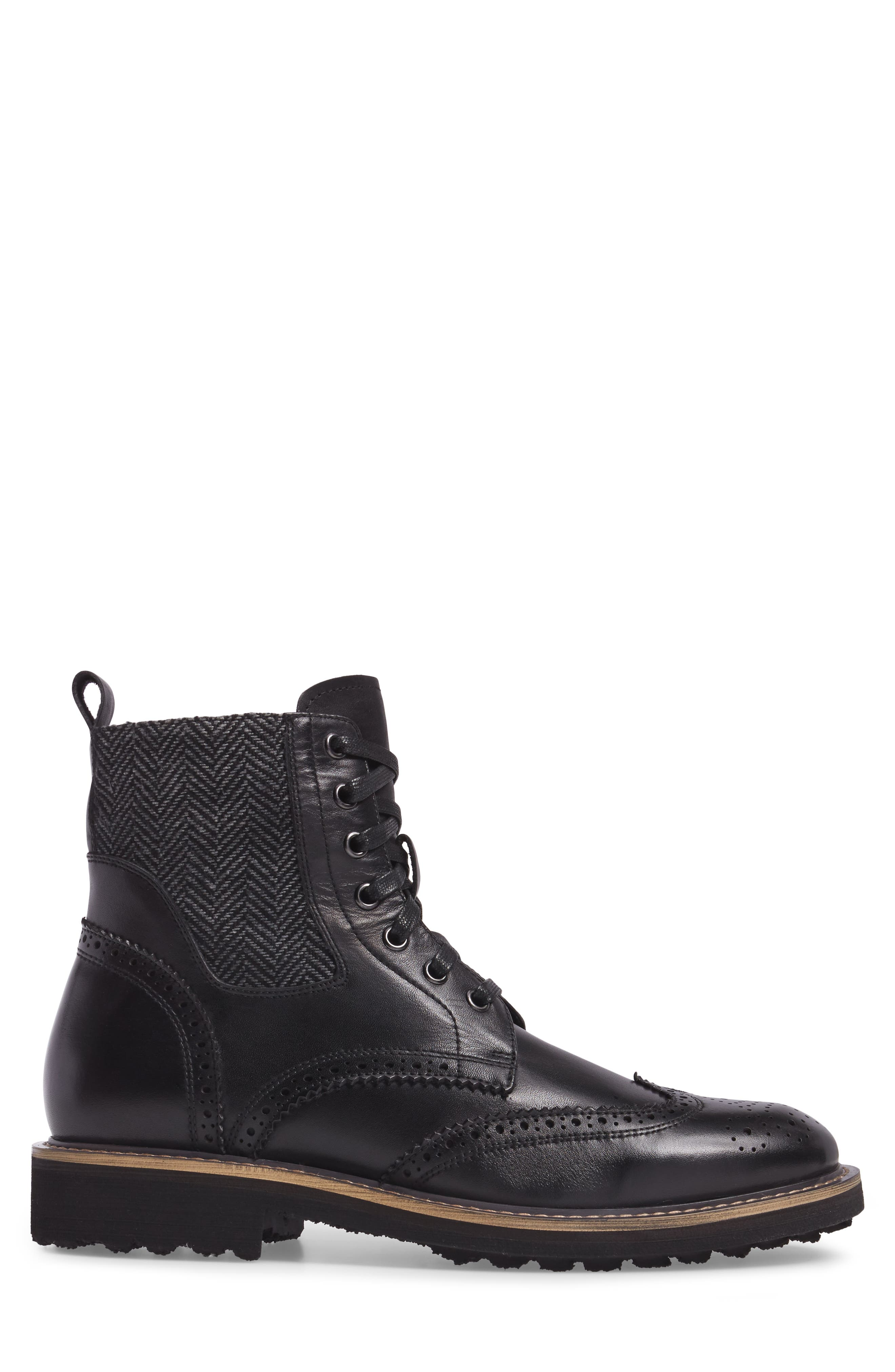 Farber Wingtip Boot,                             Alternate thumbnail 3, color,                             BLACK LEATHER