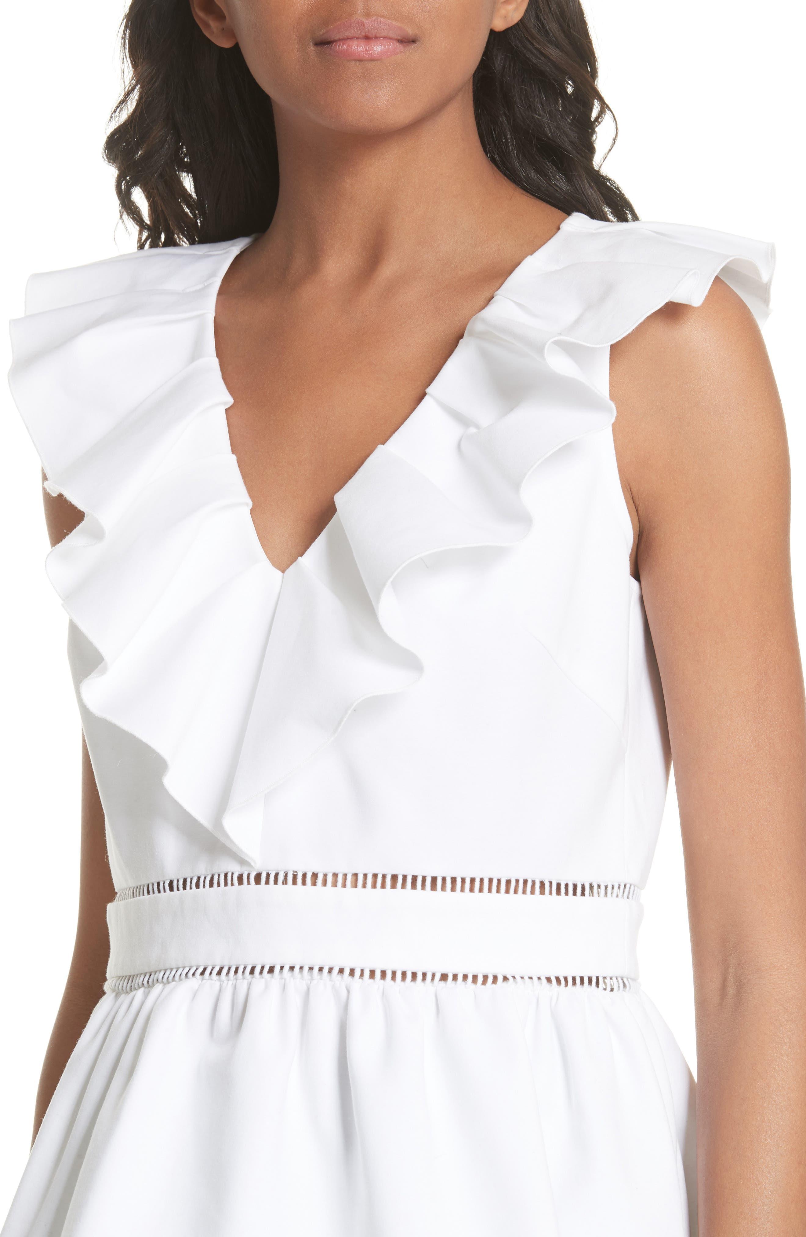 ruffle neck stretch cotton peplum blouse,                             Alternate thumbnail 8, color,