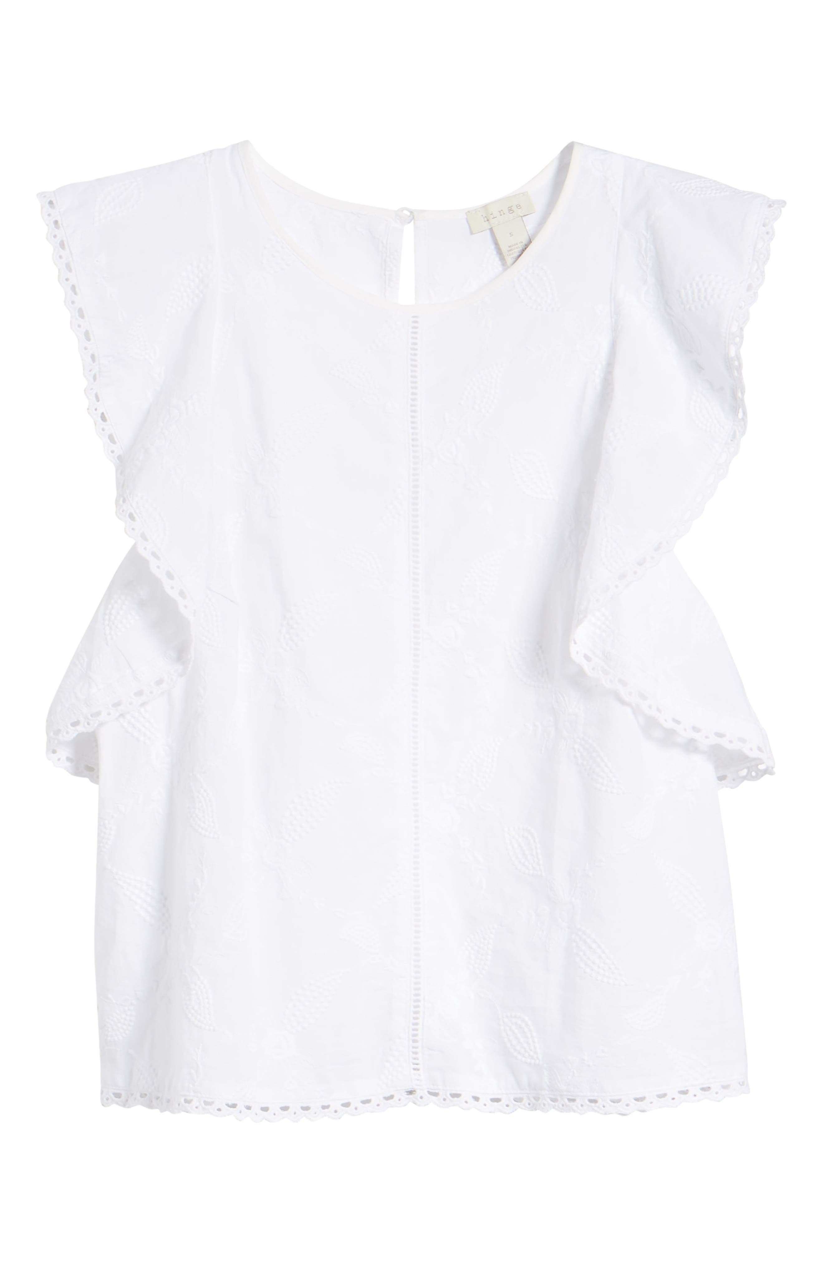 Flutter Sleeve Embroidered Top,                             Alternate thumbnail 6, color,                             WHITE