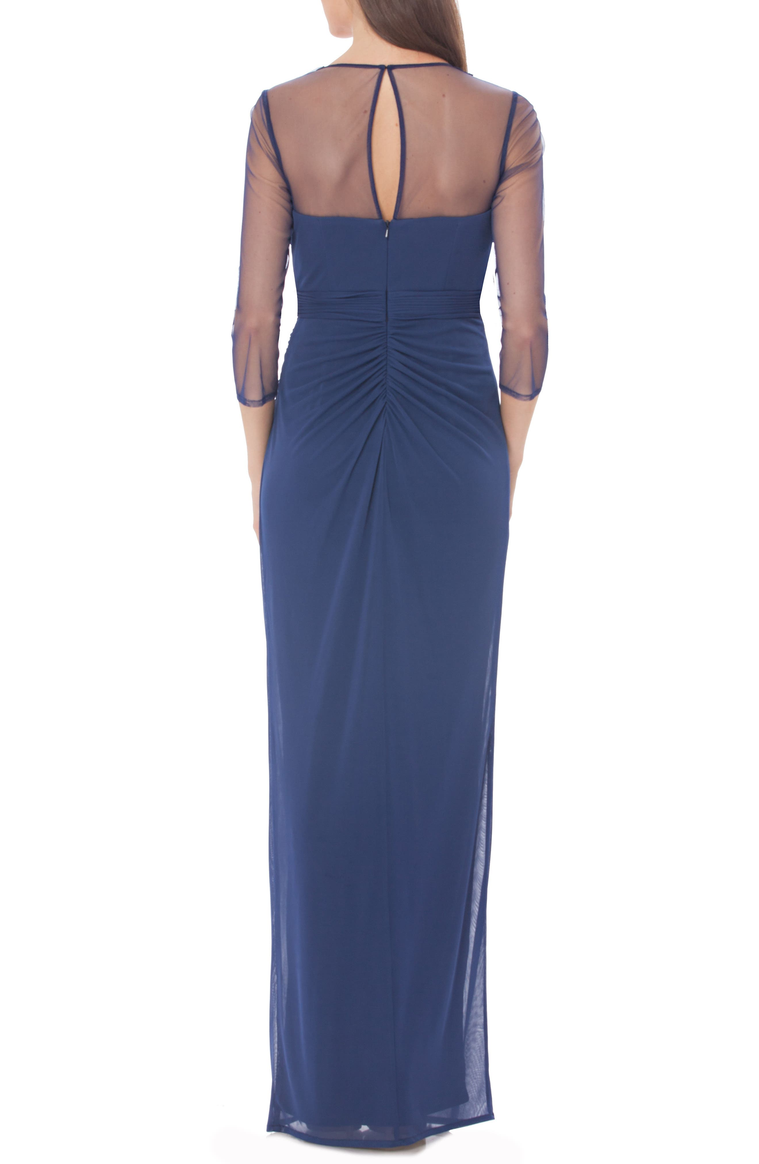 Embellished Illusion Shirred Jersey Gown,                             Alternate thumbnail 2, color,                             400