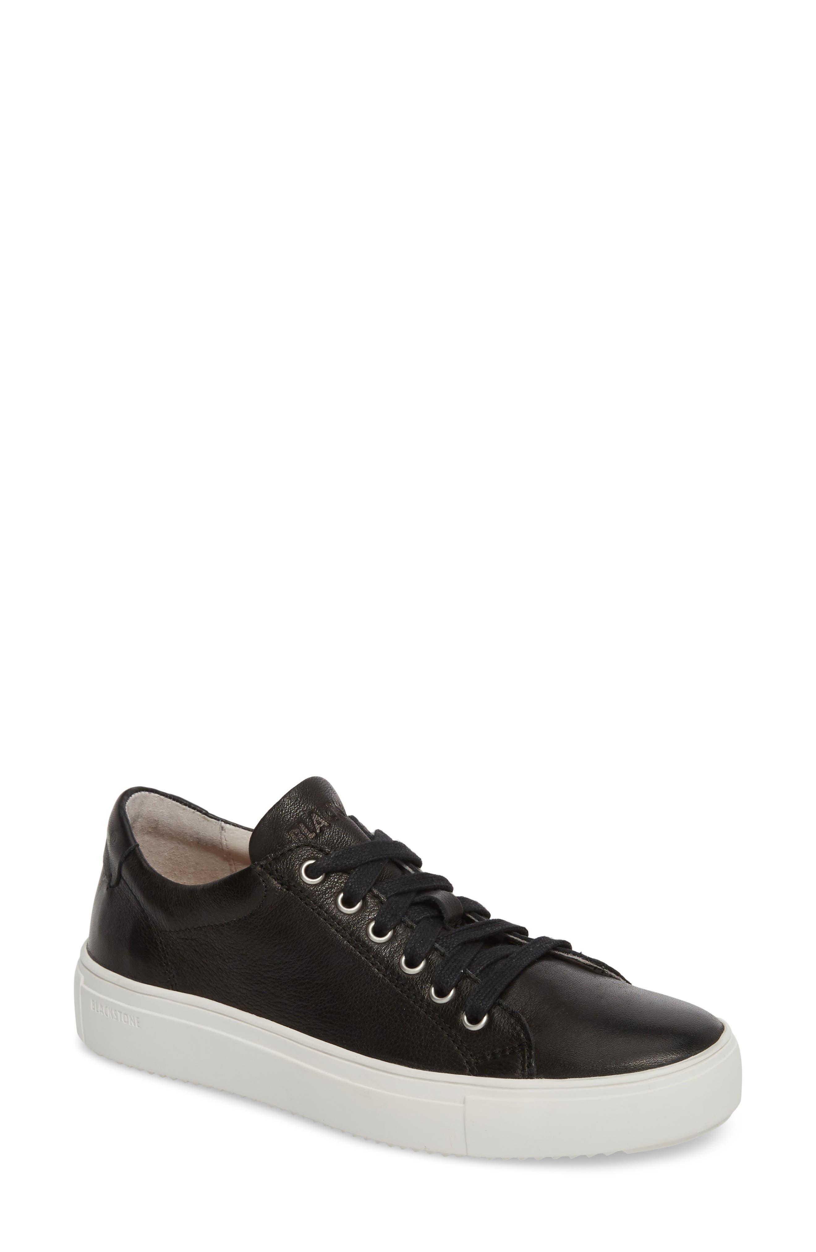 PL71 Low Top Sneaker,                             Main thumbnail 1, color,                             BLACK LEATHER