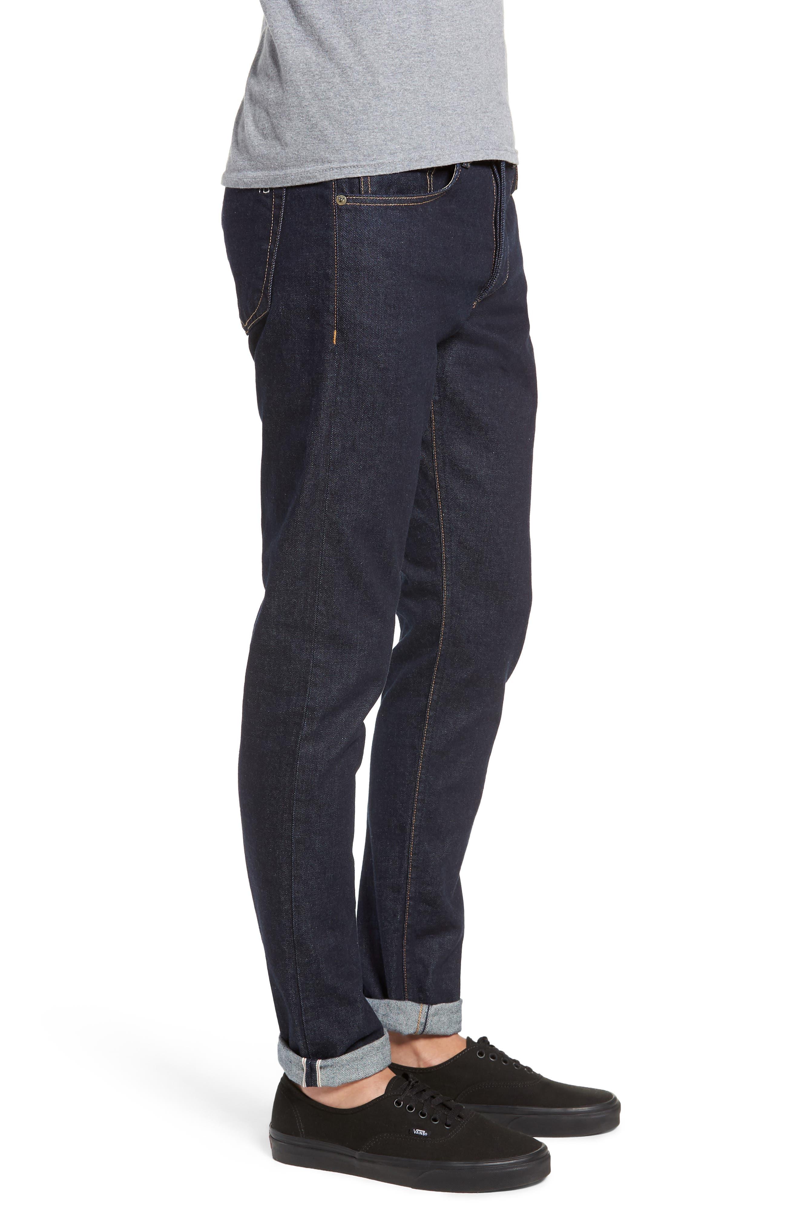 Fit 1 Skinny Fit Jeans,                             Alternate thumbnail 3, color,                             INDIGO RINSE SELVEDGE