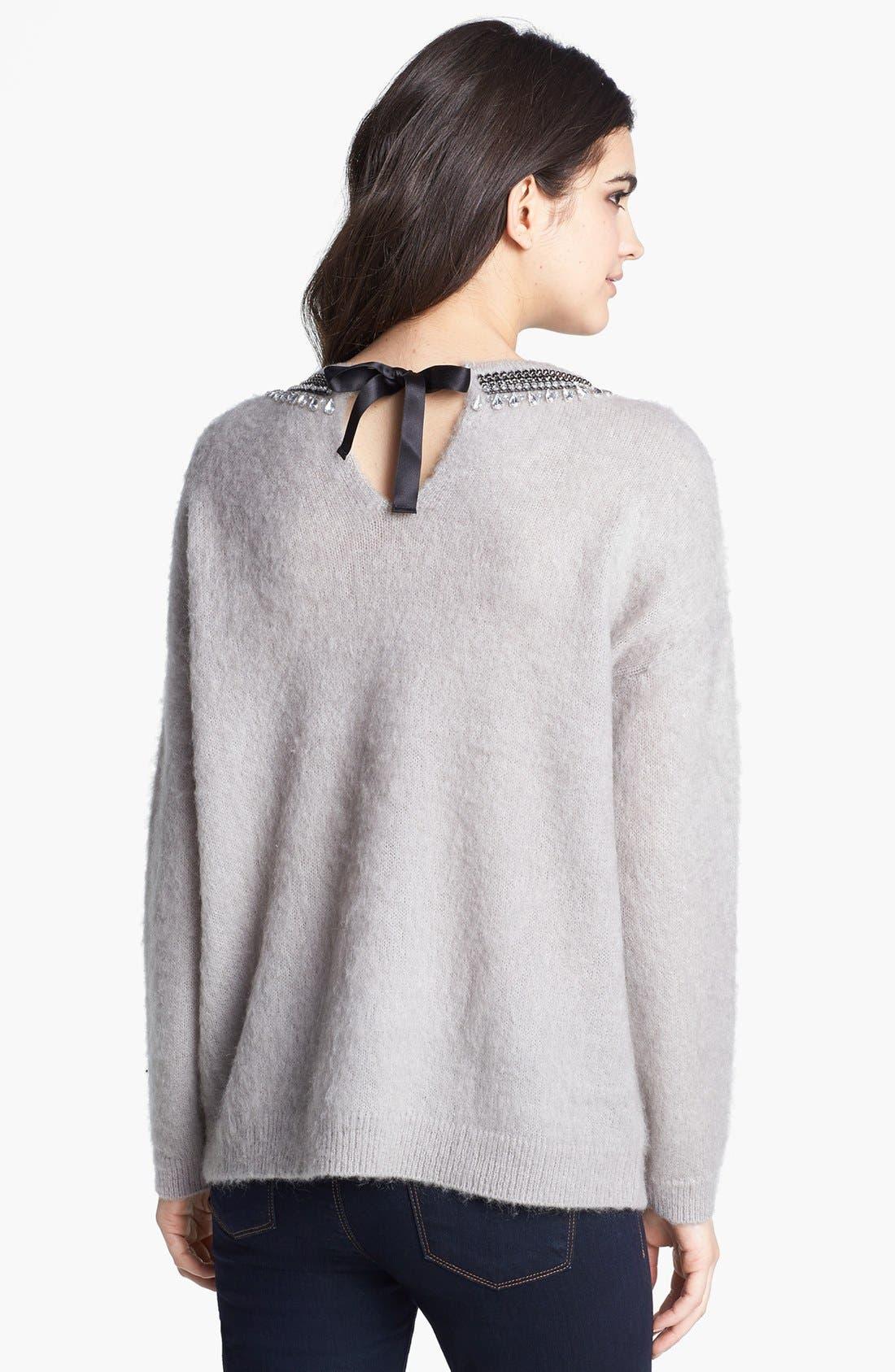 Jewel Neck Textured Sweater,                             Alternate thumbnail 2, color,                             020