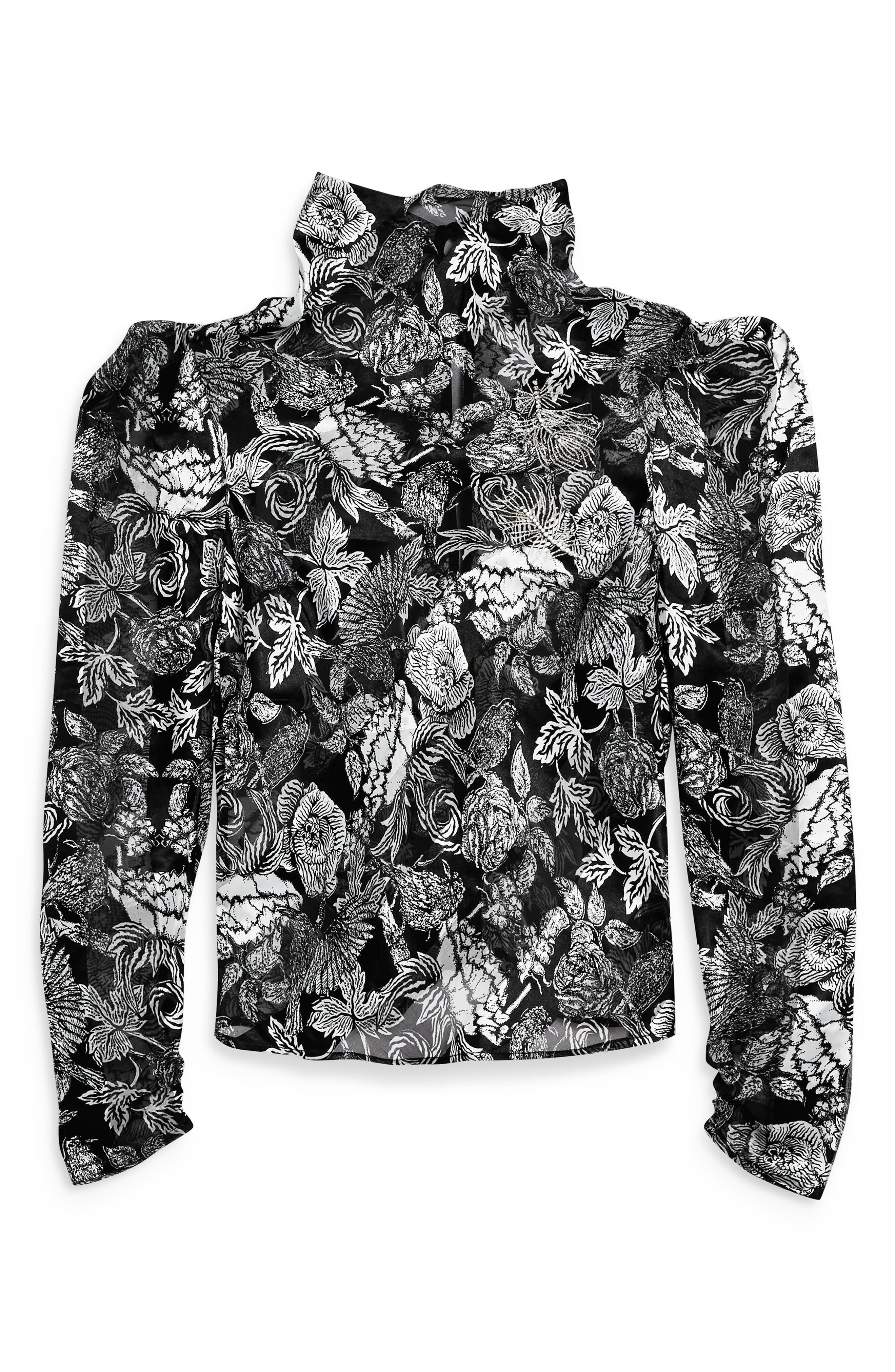 Raven Floral Blouse,                             Alternate thumbnail 3, color,                             BLACK MULTI