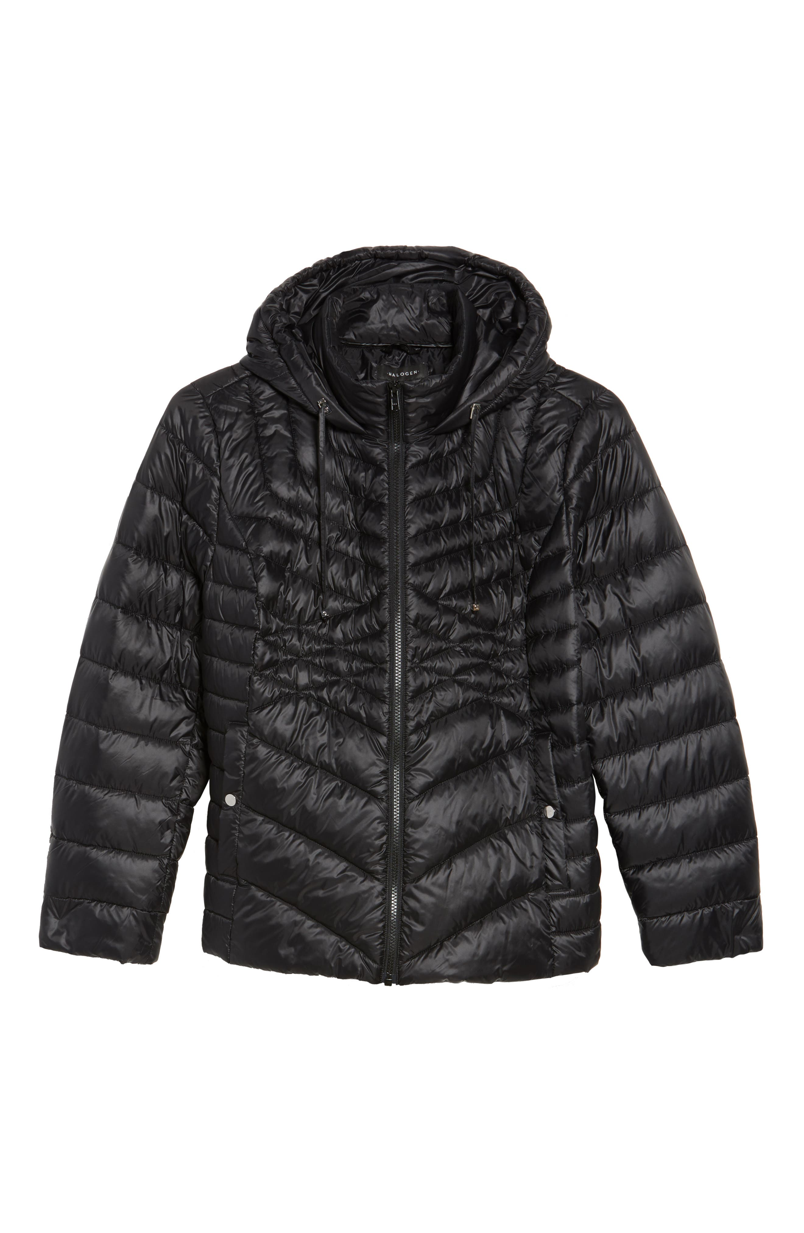 Hooded Down Blend Puffer Jacket,                             Alternate thumbnail 5, color,                             001