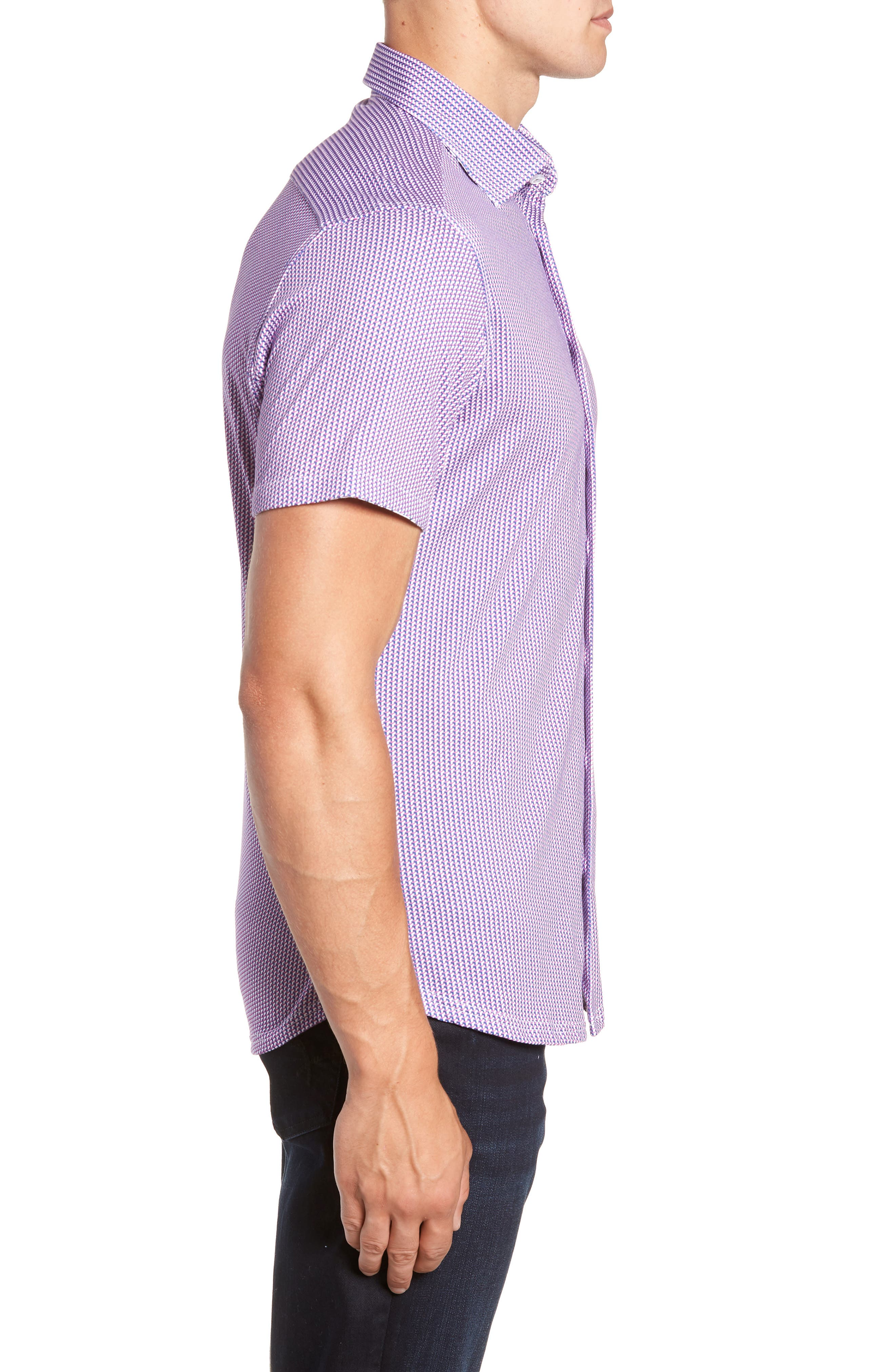 Regular Fit Geometric Print Knit Sport Shirt,                             Alternate thumbnail 4, color,                             650