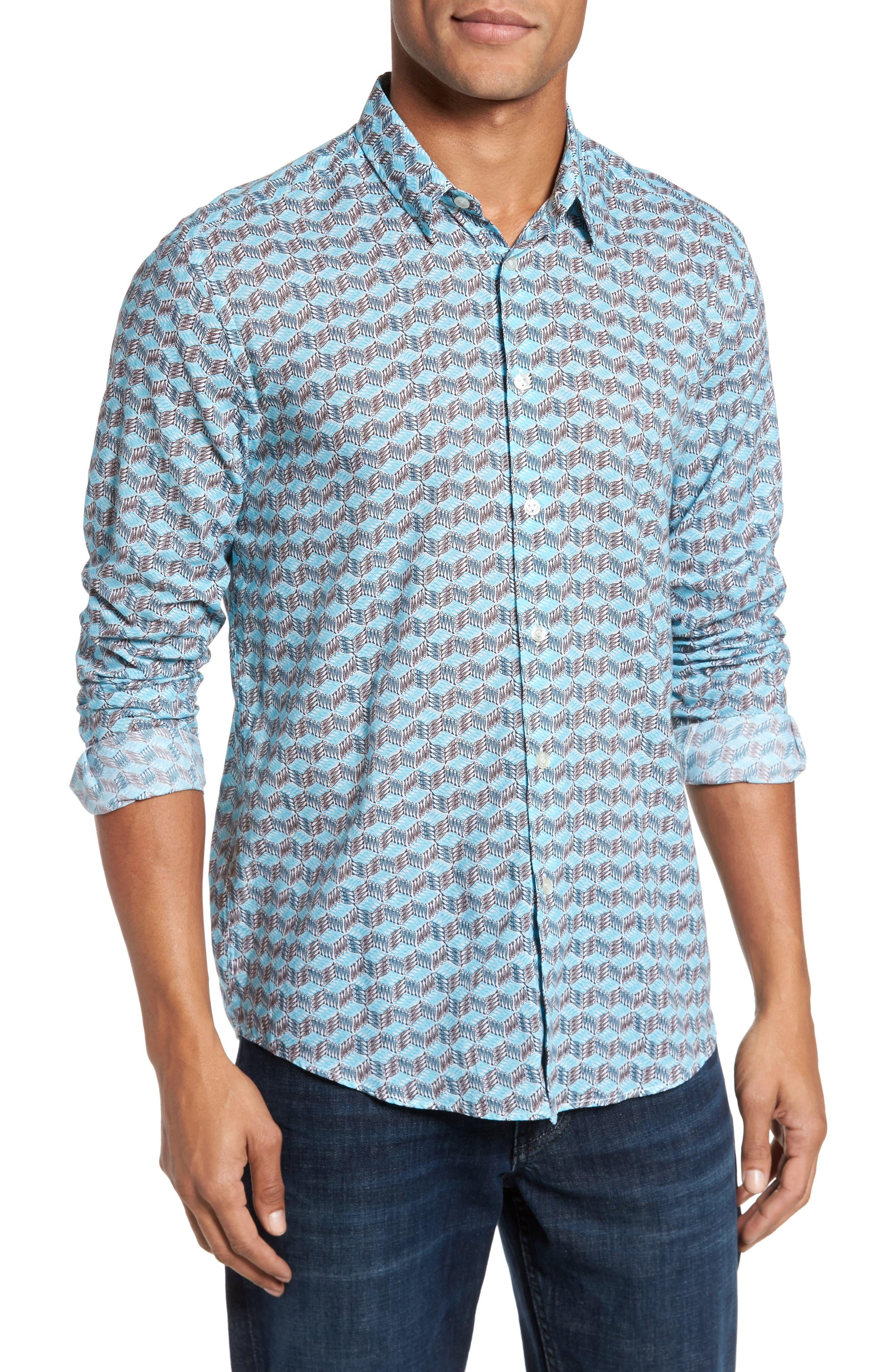 Cubed Fish Cotton Voile Sport Shirt,                         Main,                         color, AZURE