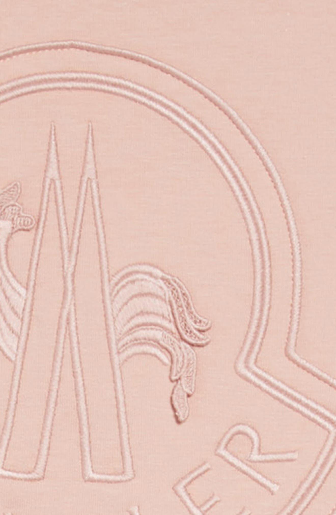 MONCLER,                             Tonal Logo Dress,                             Alternate thumbnail 3, color,                             LIGHT PINK