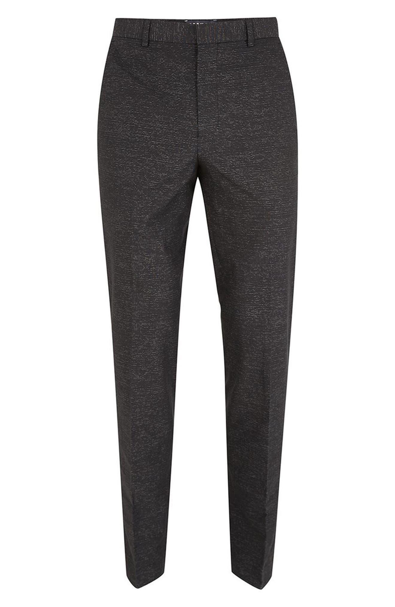 Skinny Fit Stripe Cotton Suit Pants,                             Alternate thumbnail 4, color,