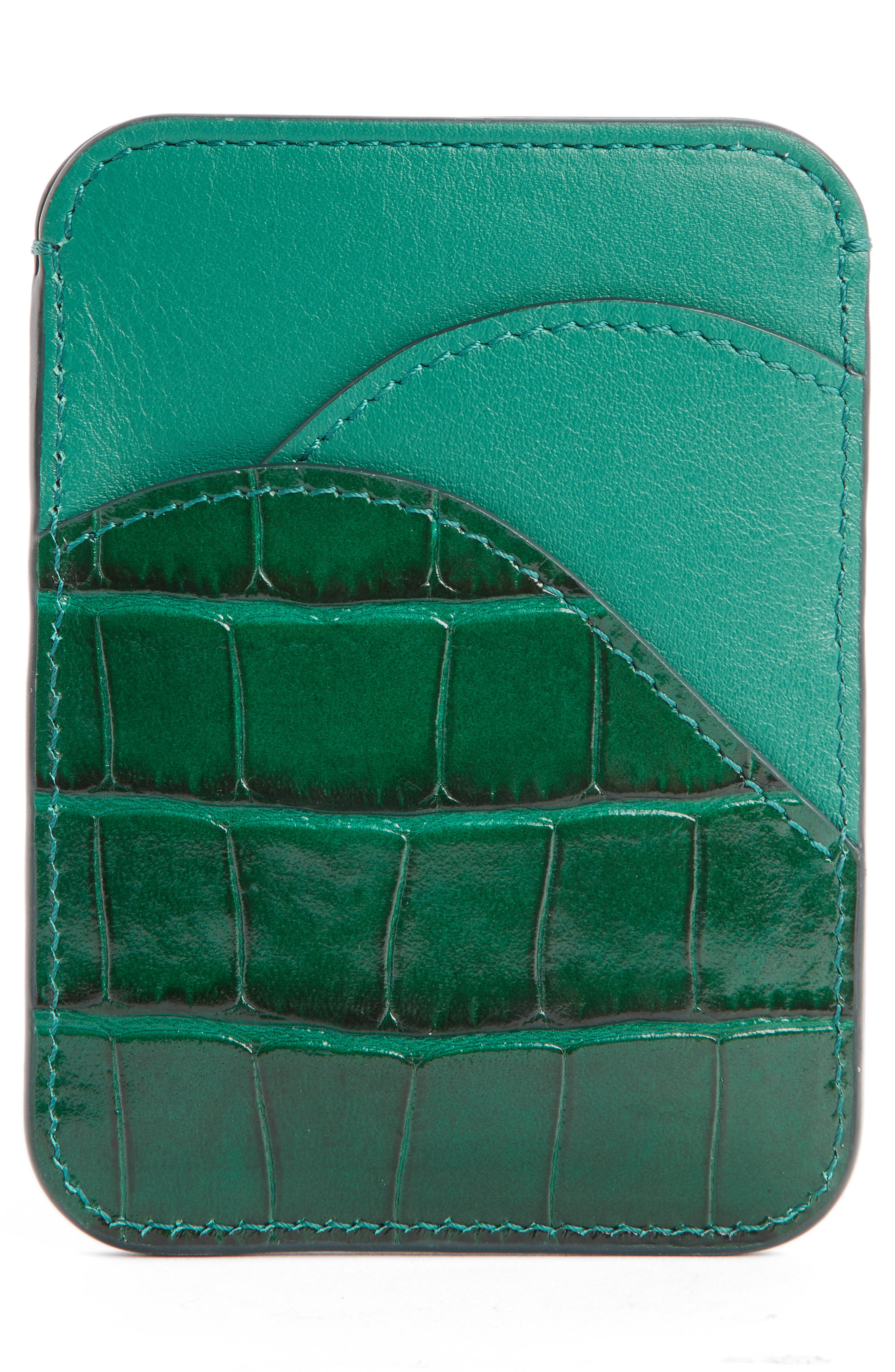 Walden Croc Embossed Leather Card Holder,                             Alternate thumbnail 2, color,                             WOODSY GREEN