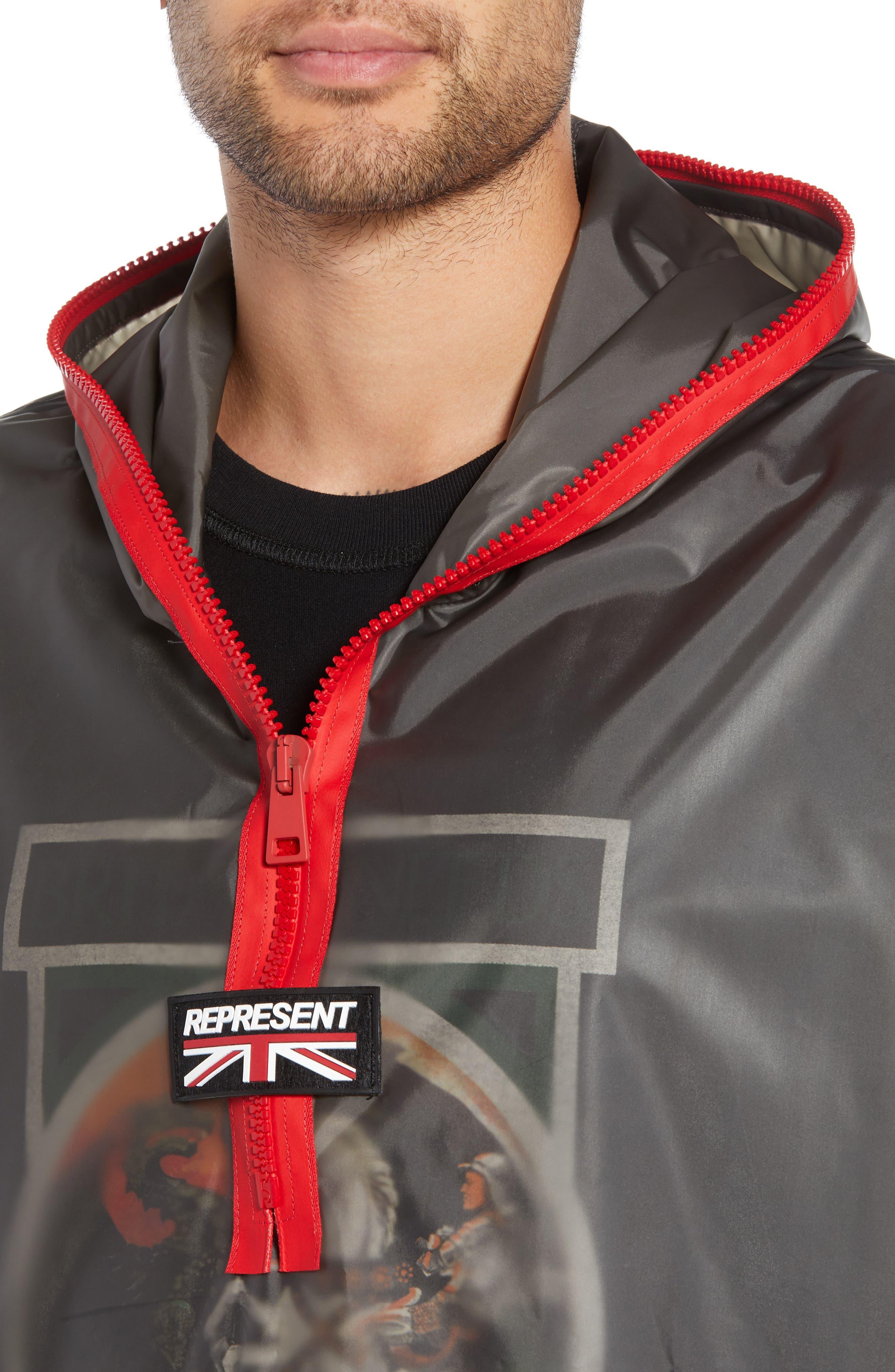 Rubber Half Zip Rain Jacket,                             Alternate thumbnail 4, color,                             BLACK